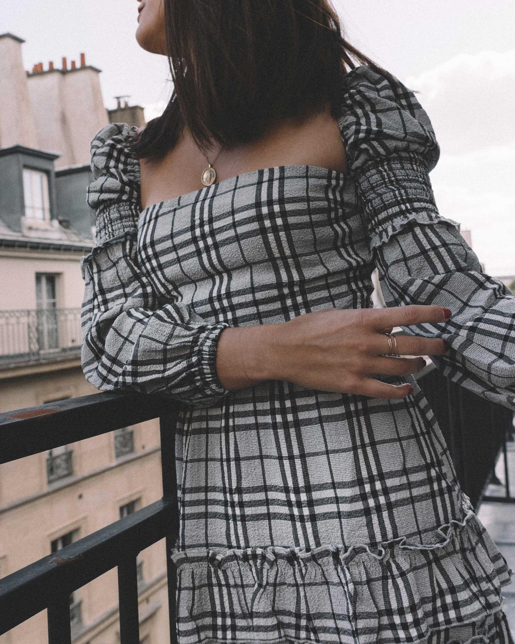 MAJORELLE Plaid Long Sleeve Dress Paris Girl Balcony Outfit6.jpg