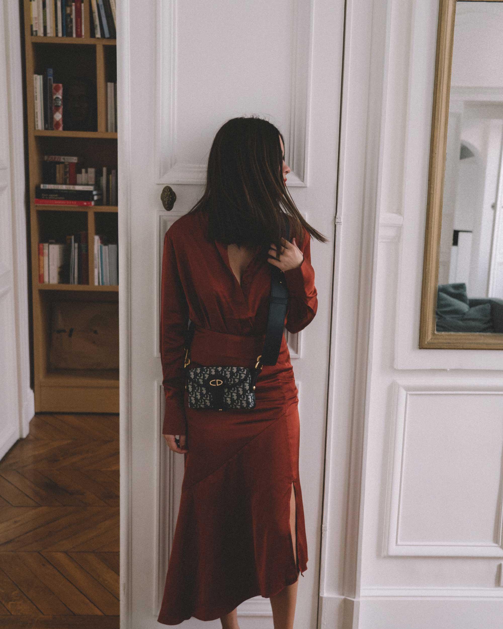Button Up Satin Blouse, Asymmetric Slit Midi Skirt, Luxury Paris Apartment, Fall Outfit3.jpg