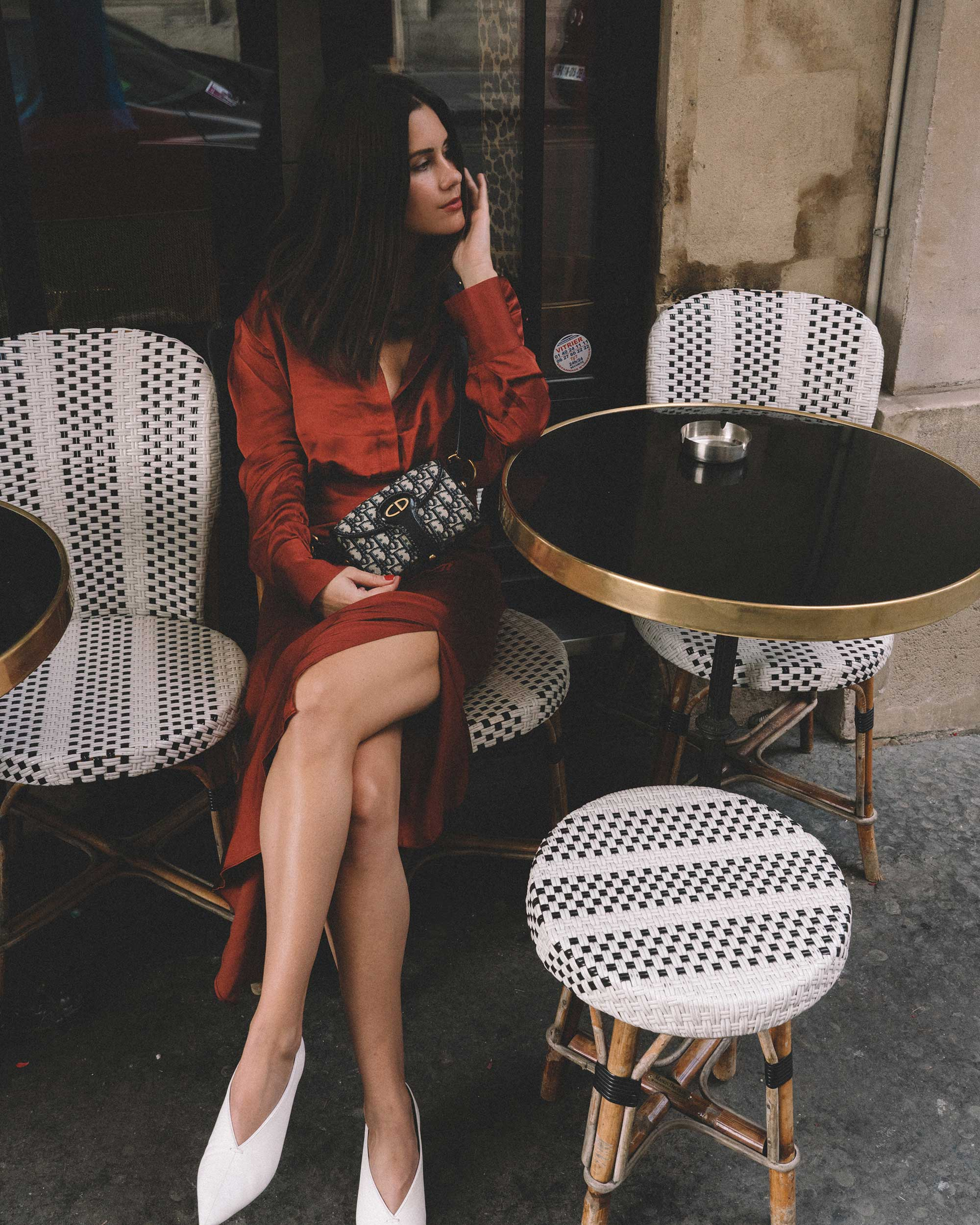 Button Up Satin Blouse, Asymmetric Slit Midi Skirt, Luxury Paris Apartment, Fall Outfit4.jpg