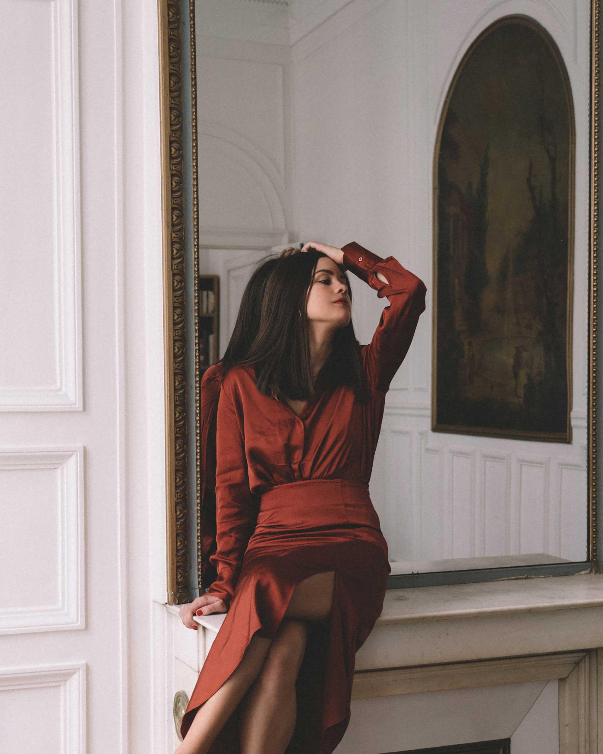 Button Up Satin Blouse, Asymmetric Slit Midi Skirt, Luxury Paris Apartment, Fall Outfit2.jpg