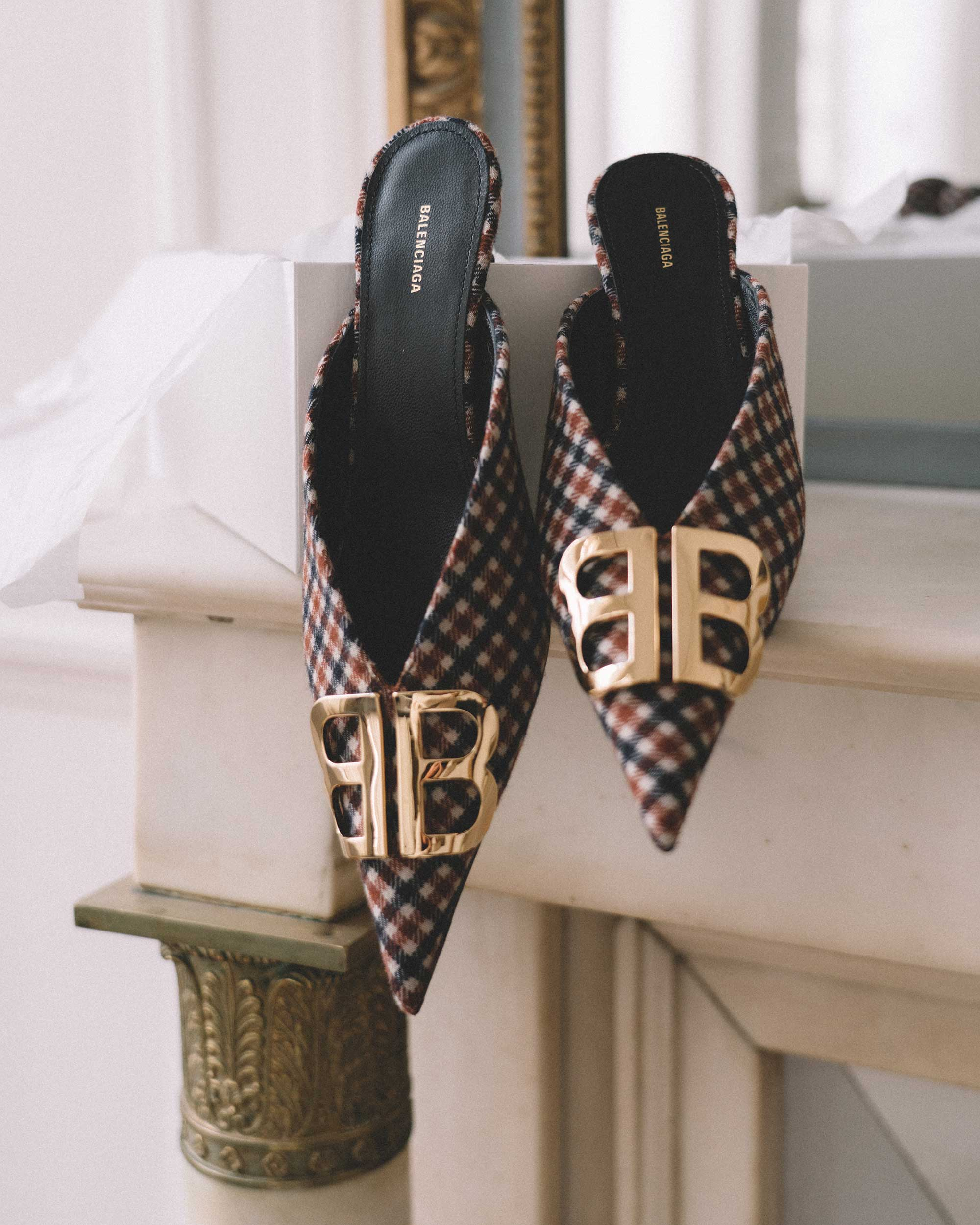Balenciaga Knife logo-embellished checked wool mules1.jpg