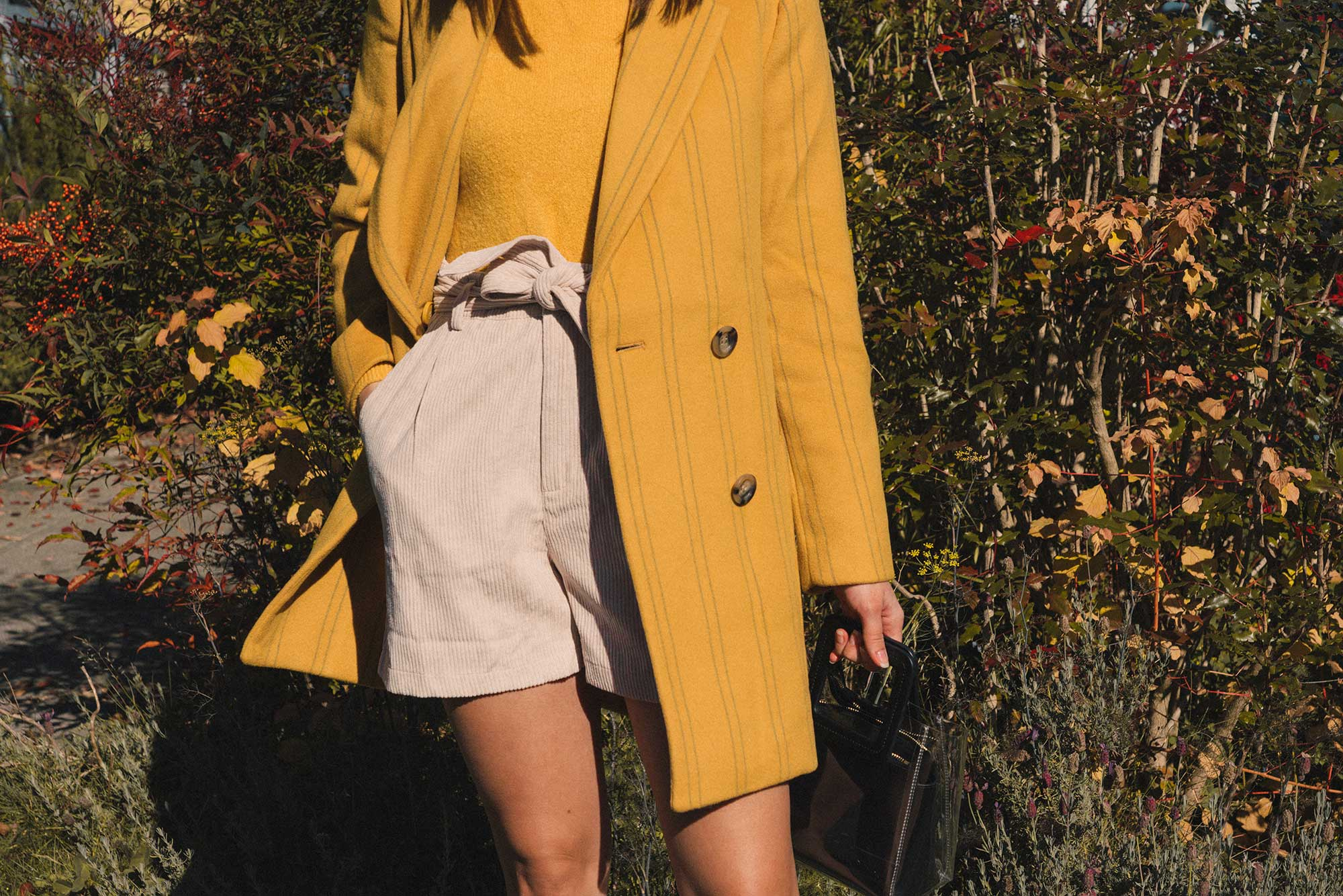 Madewell Hollis Double-Breasted Stripe Yellow Blazer Coat, corduroy shorts, fall outfit, fall leaves in Seattle 11.jpg