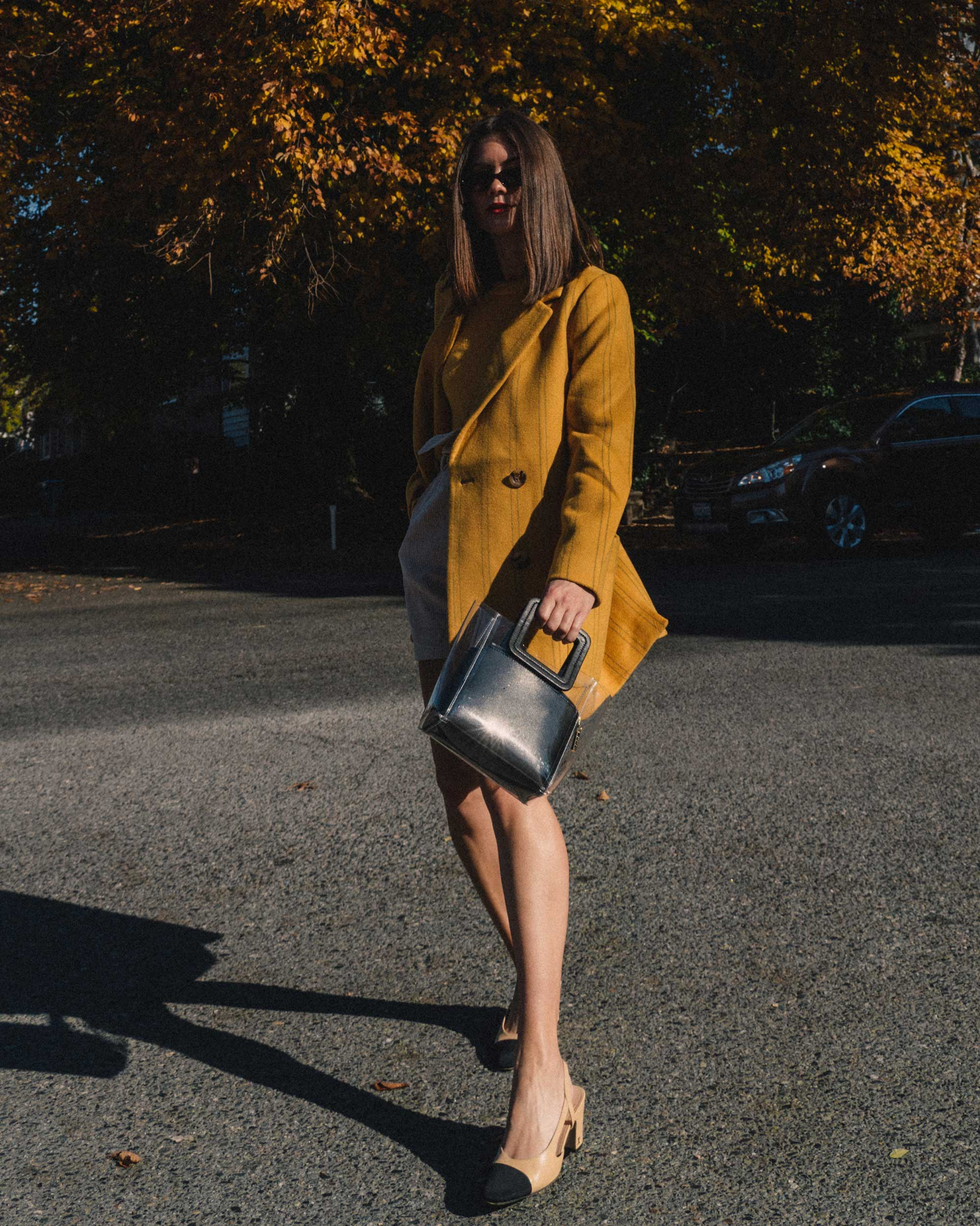 Madewell Hollis Double-Breasted Stripe Yellow Blazer Coat, corduroy shorts, fall outfit, fall leaves in Seattle 9.jpg