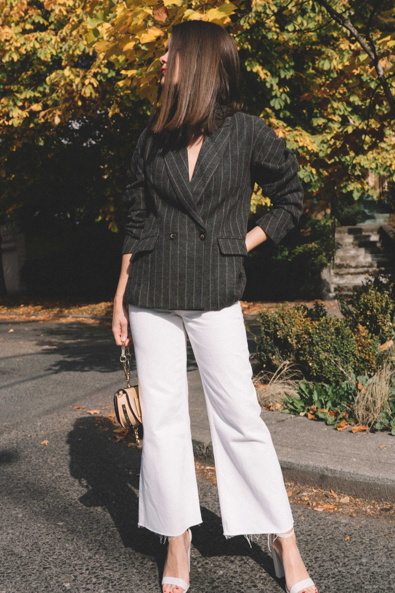 ASTR The Label Arden Charcoal Brown Stripe Gathered Puff Sleeve Blazer, winter white pants, cool fall outfit ideas,7.jpg