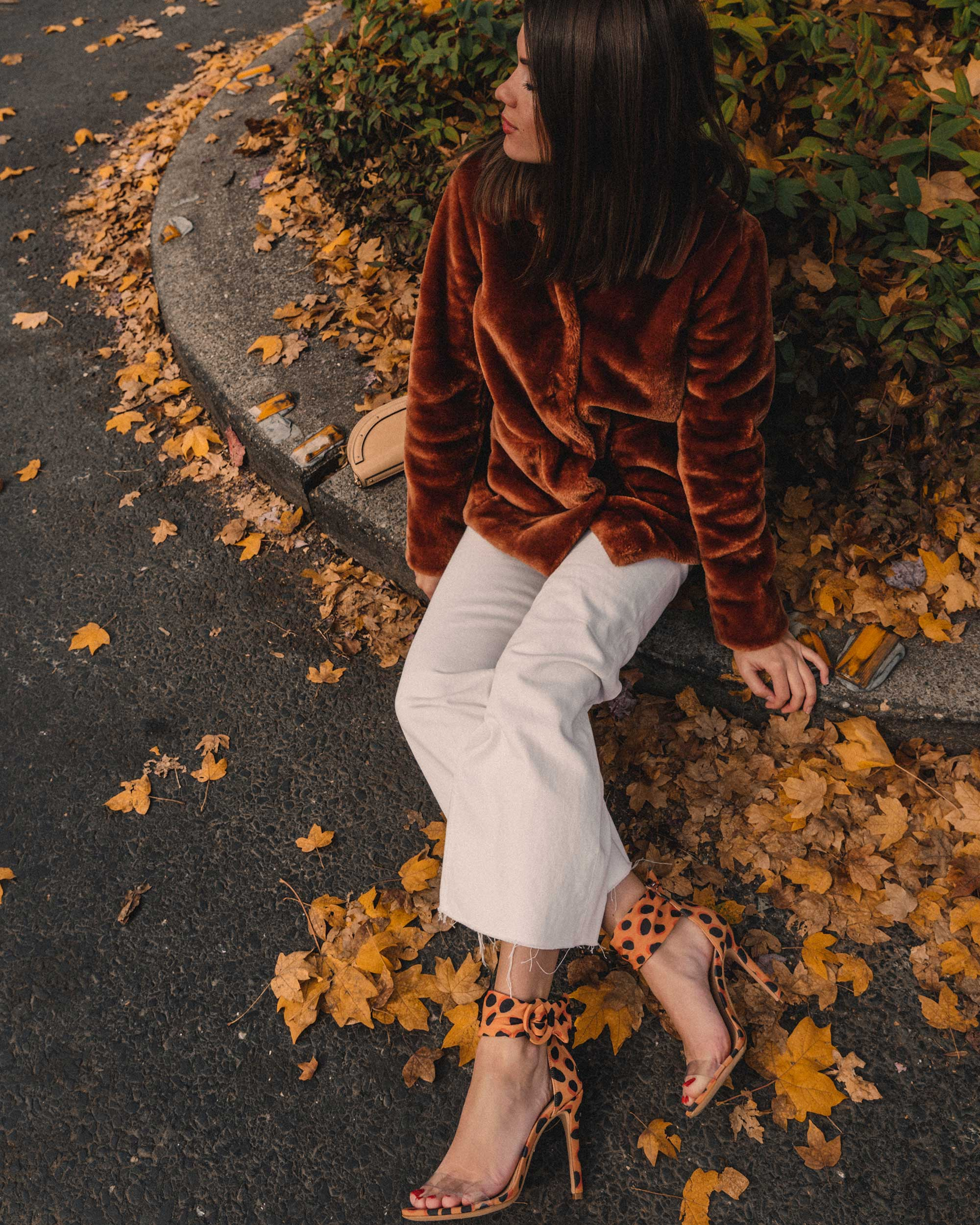 Rebecca Taylor FAUX FUR COAT in rust, fall outfit, Schutz Shoes S-Vall High Heel Wild Dot Leopard Print Sandals2.jpg