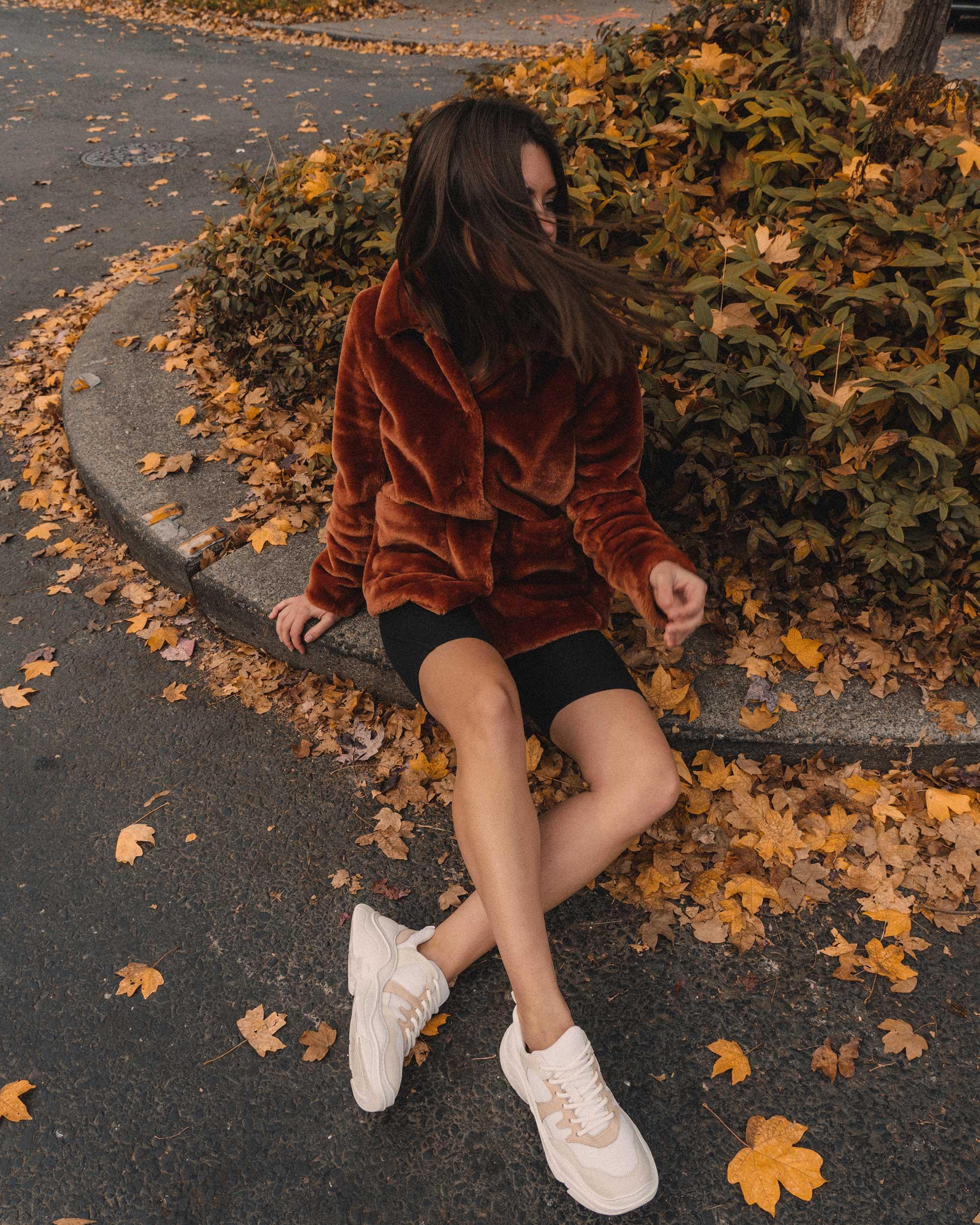 Rebecca Taylor FAUX FUR COAT in rust, fall outfit, Schutz Shoes Jackye Chunky Sneaker1.jpg