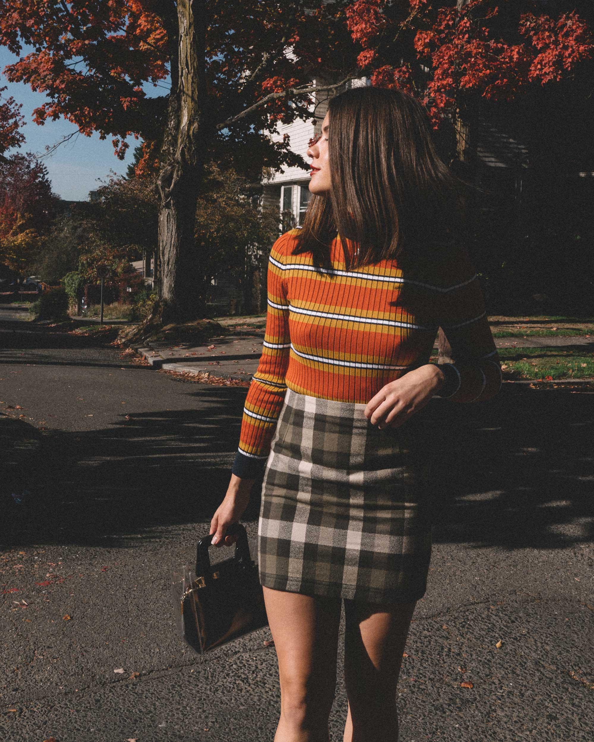 Courreges Orange Striped Sweater, Riller & Fount Darlene Plaid Flannel Skirt, plaid fall outfit, 4.jpg