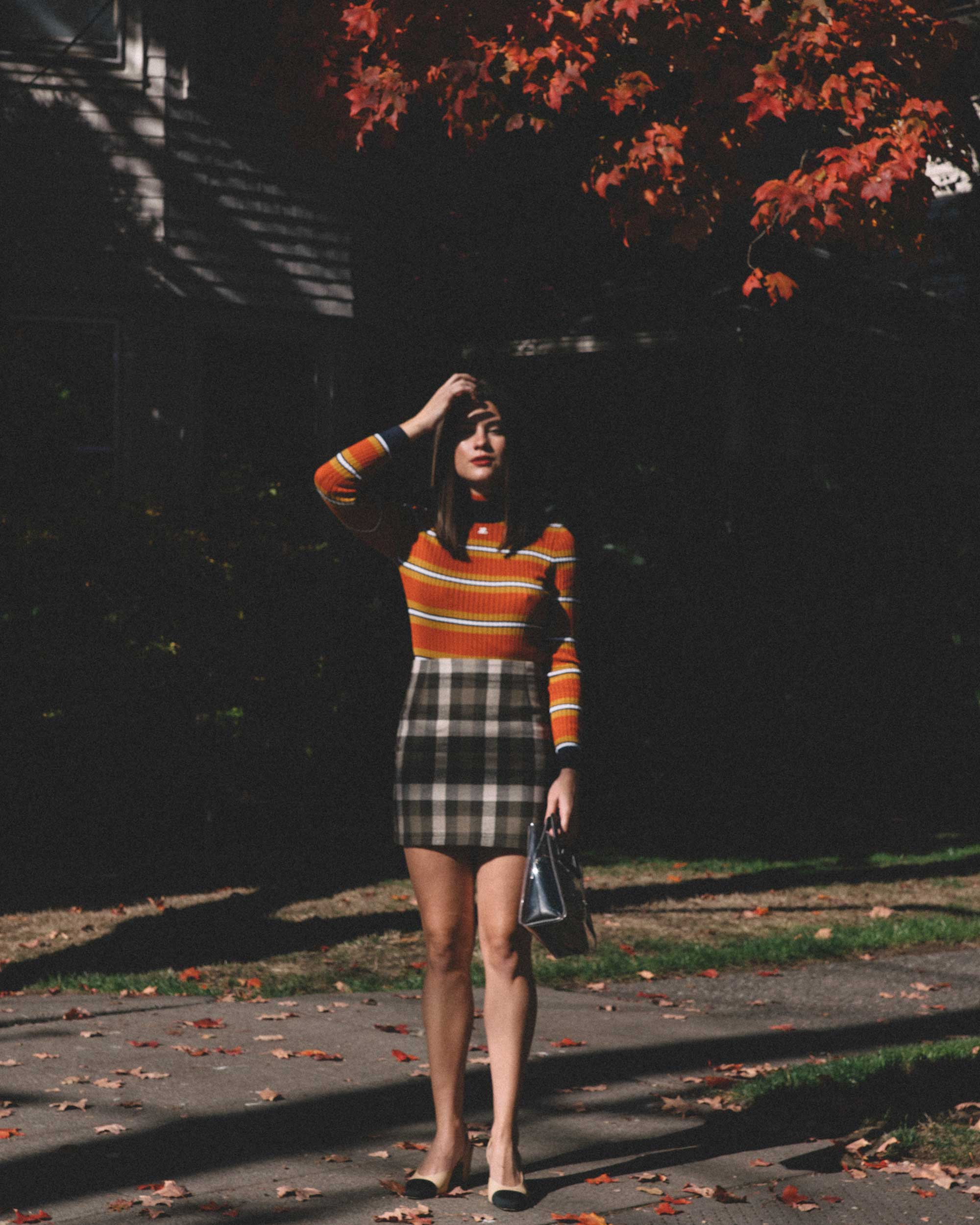 Courreges Orange Striped Sweater, Riller & Fount Darlene Plaid Flannel Skirt, plaid fall outfit, 2.jpg