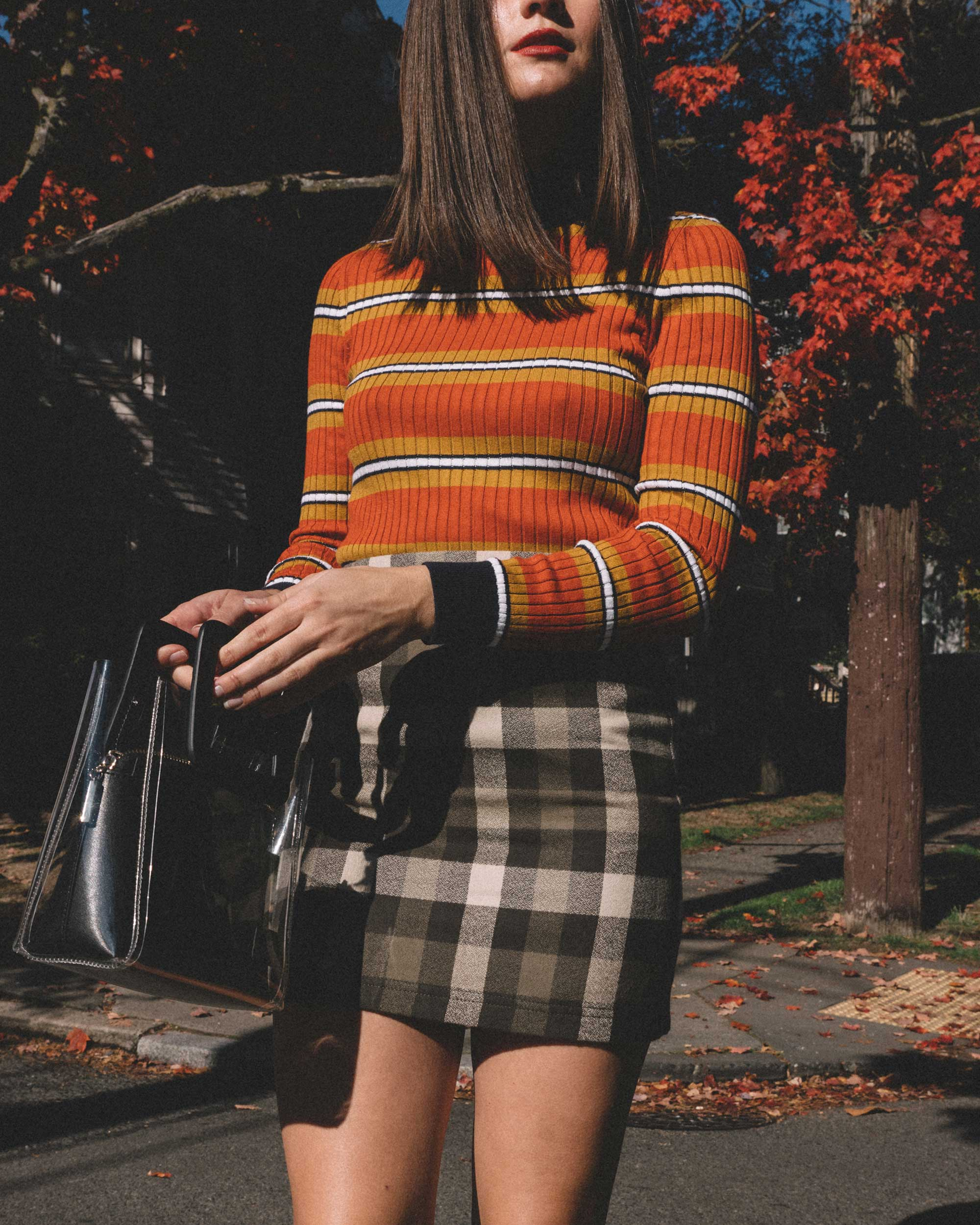 Courreges Orange Striped Sweater, Riller & Fount Darlene Plaid Flannel Skirt, plaid fall outfit, 7.jpg
