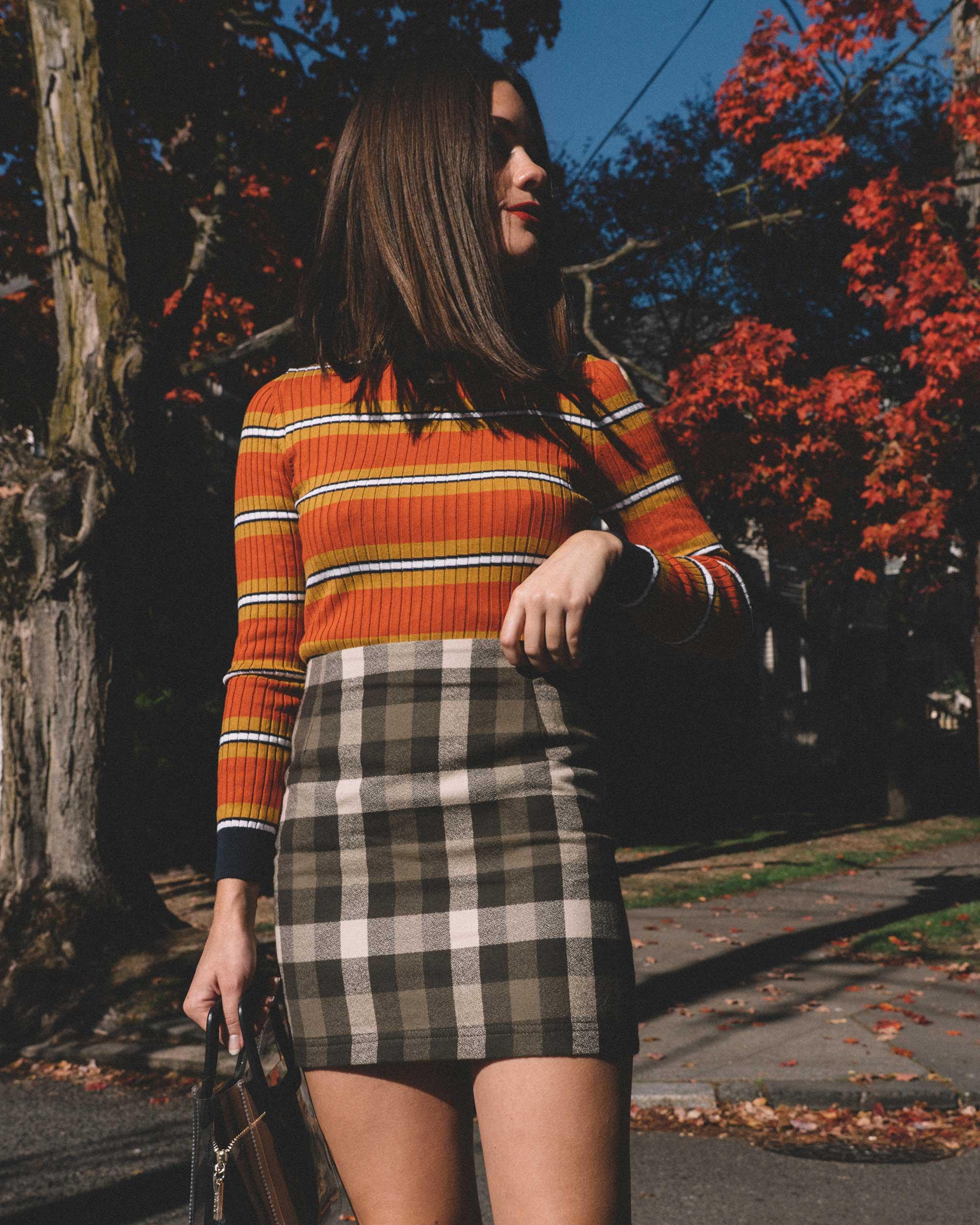 Courreges Orange Striped Sweater, Riller & Fount Darlene Plaid Flannel Skirt, plaid fall outfit, 9.jpg