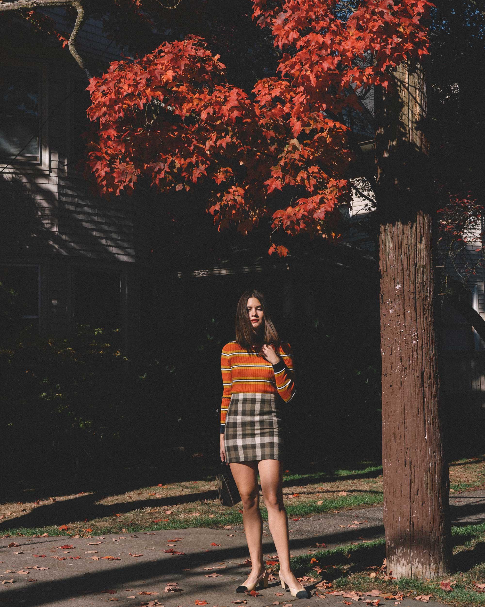 Courreges Orange Striped Sweater, Riller & Fount Darlene Plaid Flannel Skirt, plaid fall outfit, 1.jpg
