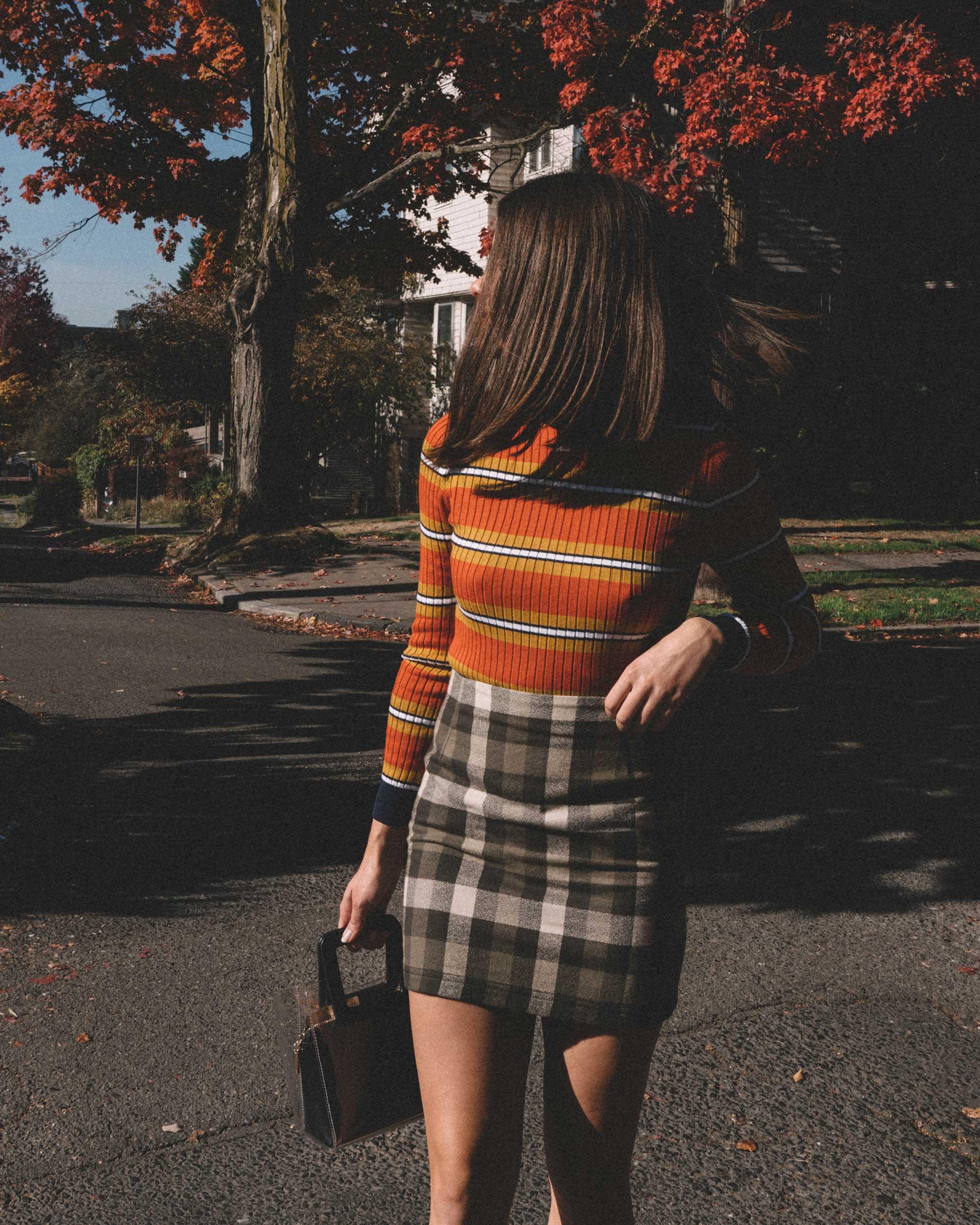 Courreges Orange Striped Sweater, Riller & Fount Darlene Plaid Flannel Skirt, plaid fall outfit, 5.jpg