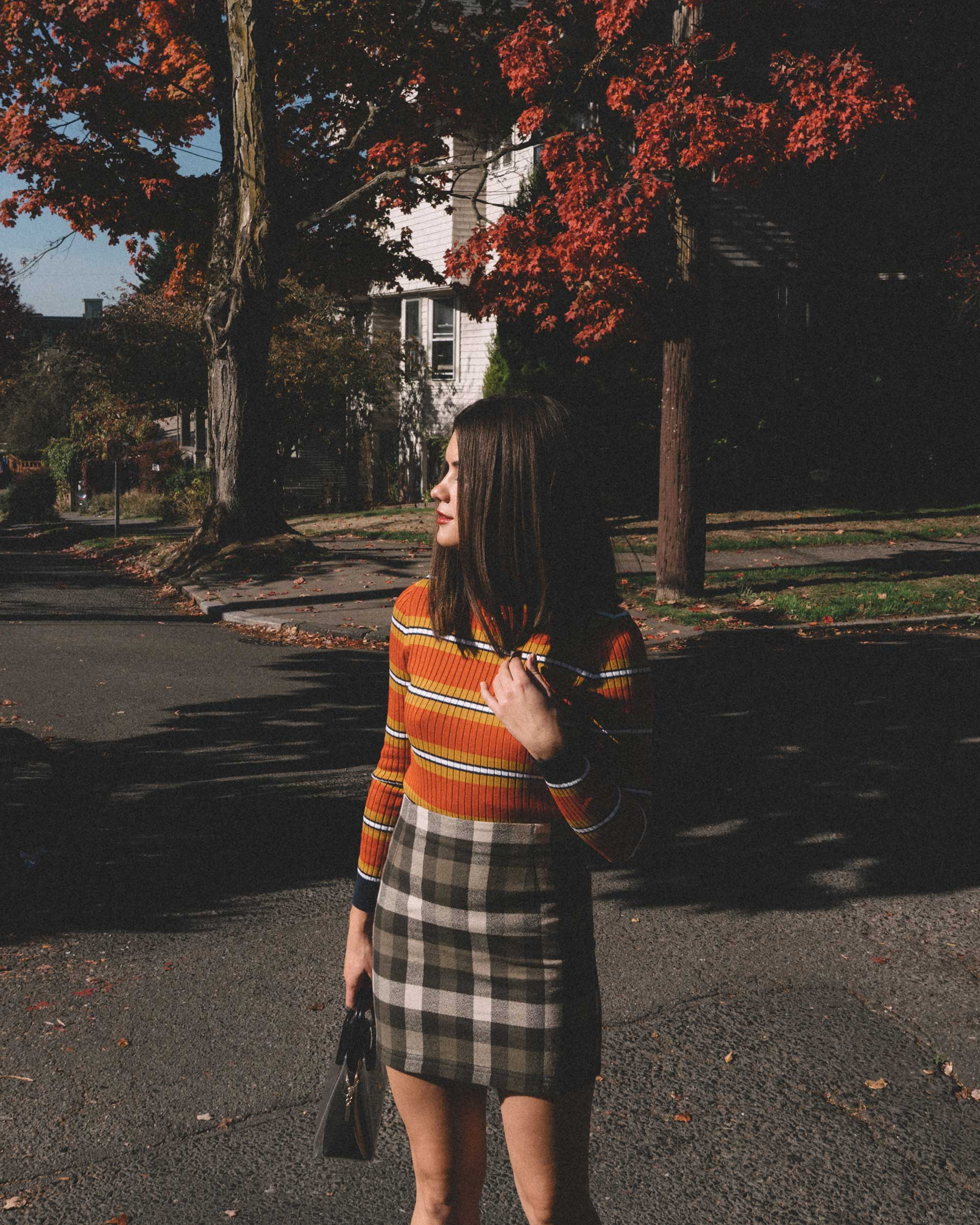 Courreges Orange Striped Sweater, Riller & Fount Darlene Plaid Flannel Skirt, plaid fall outfit, 3.jpg