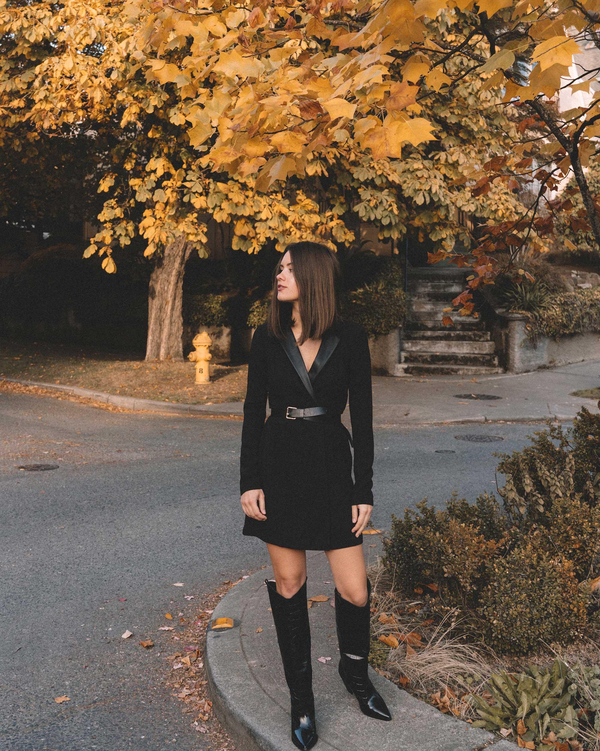 bcbgeneration blazer dress in black, Sigerson Morrison Karida Black Leather Knee High Boot, fall outfit 1.jpg