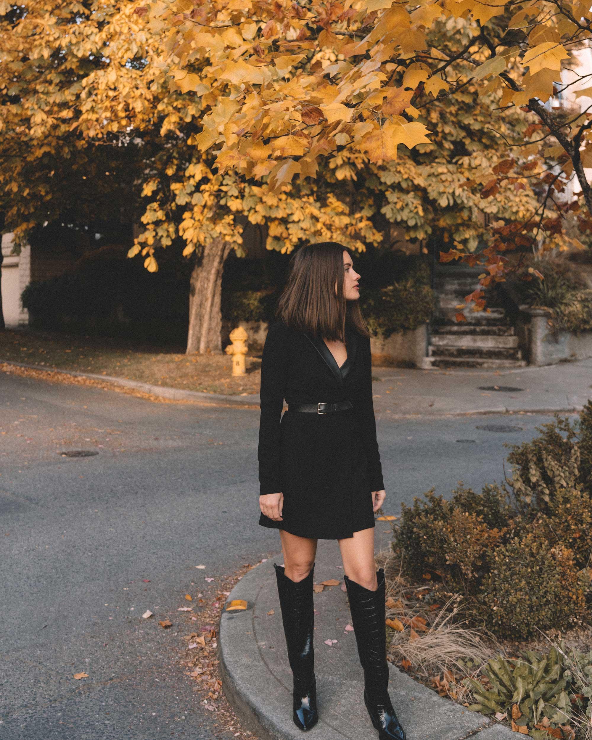 bcbgeneration blazer dress in black, Sigerson Morrison Karida Black Leather Knee High Boot, fall outfit 2.jpg