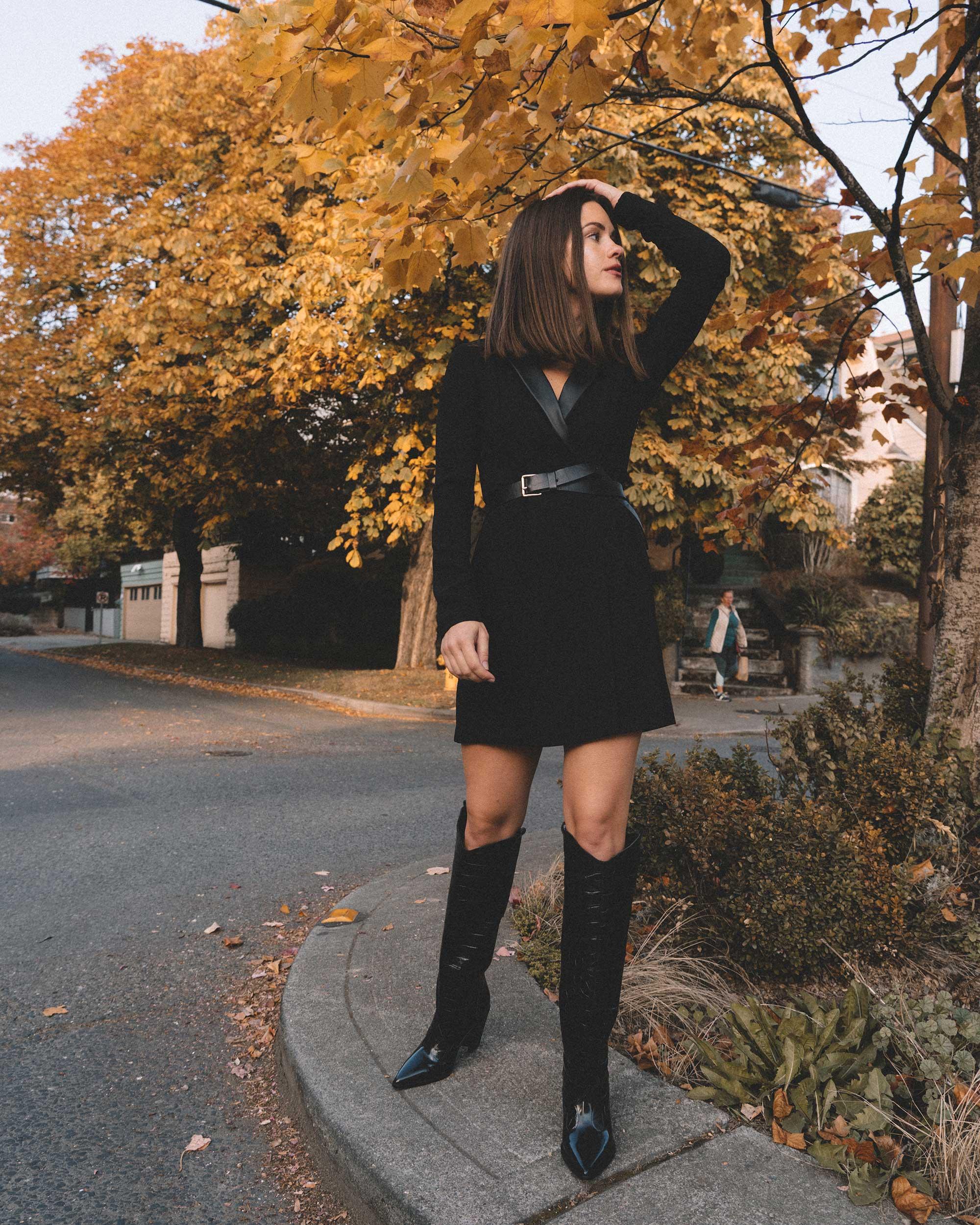 bcbgeneration blazer dress in black, Sigerson Morrison Karida Black Leather Knee High Boot, fall outfit 6.jpg