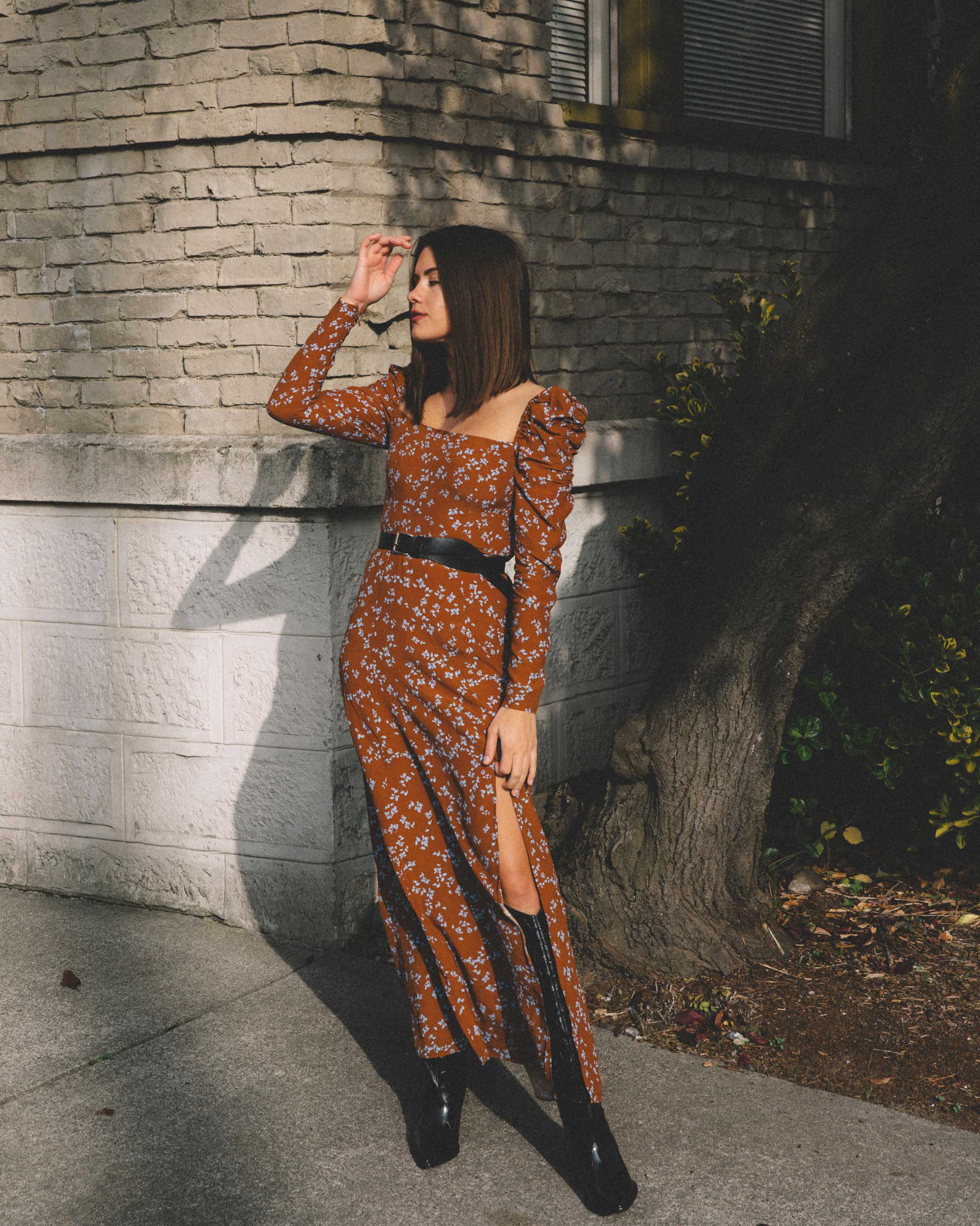 And Other Stories brown ruched floral maxi dress, Sigerson Morrison Karida Black Leather Knee High Boot, fall dress outfit1.jpg