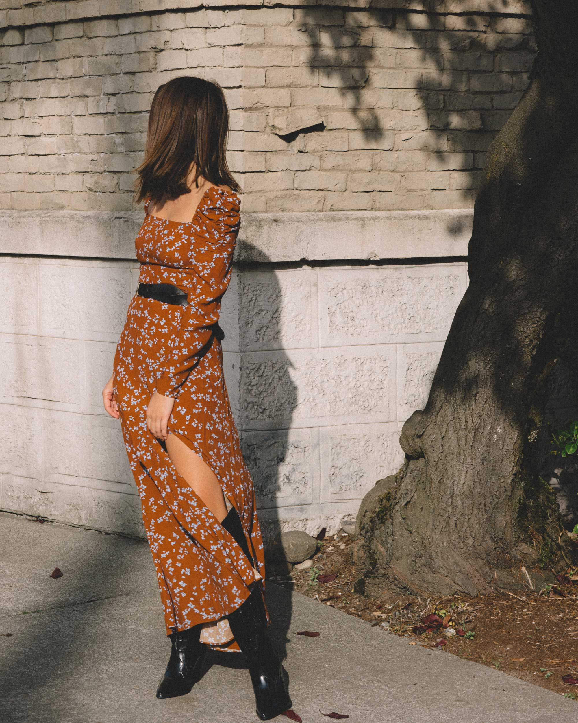 And Other Stories brown ruched floral maxi dress, Sigerson Morrison Karida Black Leather Knee High Boot, fall dress outfit2.jpg