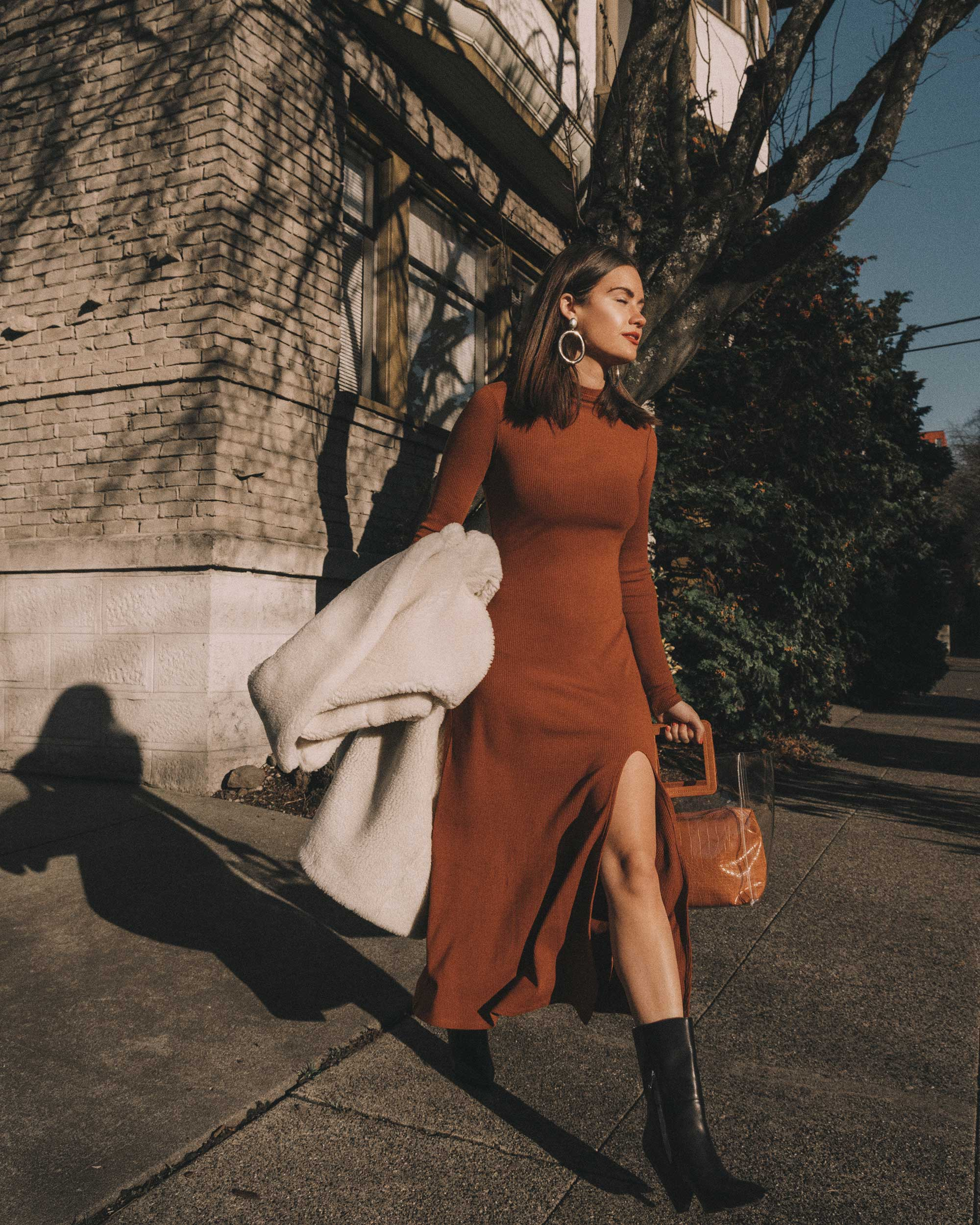 Brown Ribbed stretch long sleeve maxi dress with a mock neck and side slit2018-12-05 at 1.48.43 PM 3.jpg