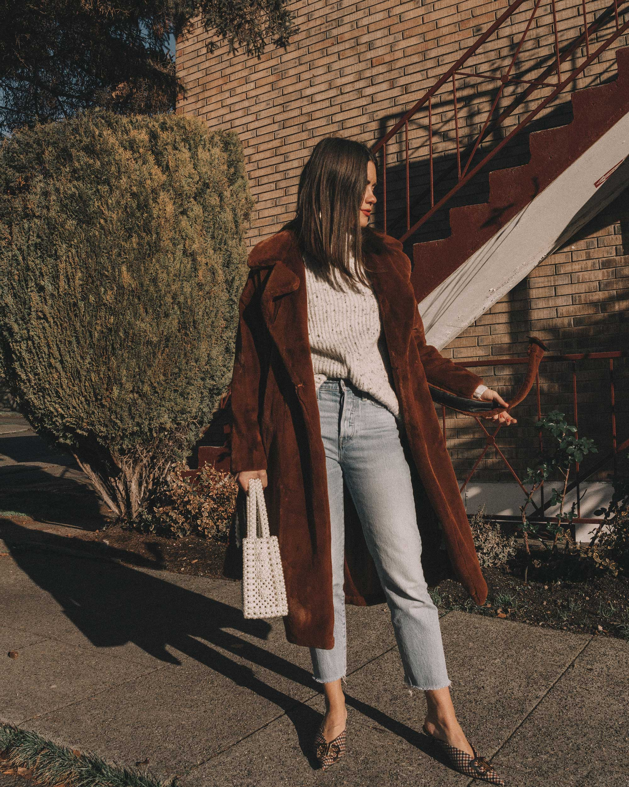 Topshop Bella Velvet Brown Faux Fur Coat winter outfit levis wedgie jeans seattle6.jpg