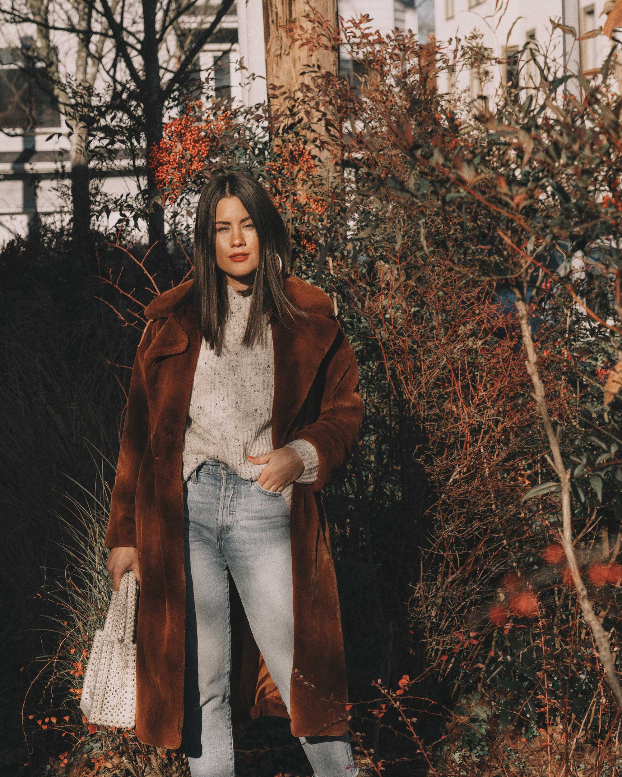 Topshop Bella Velvet Brown Faux Fur Coat winter outfit levis wedgie jeans seattle3.jpg
