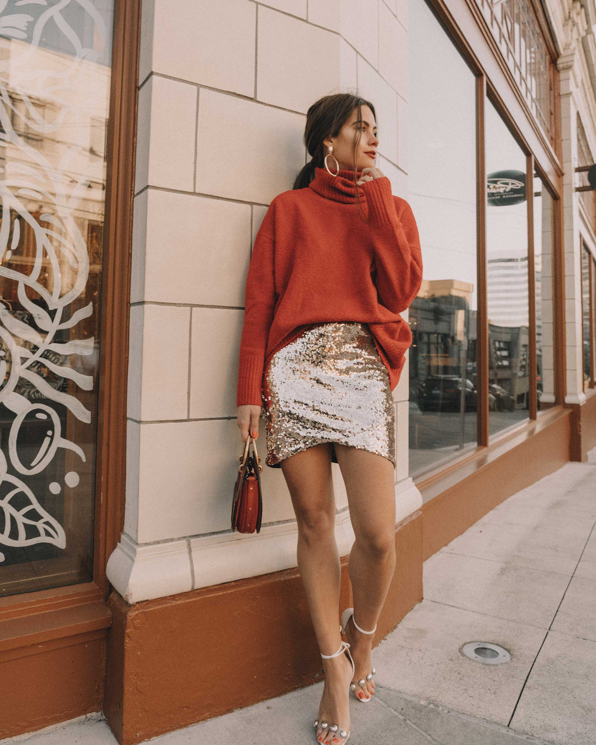 Red turtleneck sweater with an oversized collar and sequin skirt cute holiday outfit1.jpg