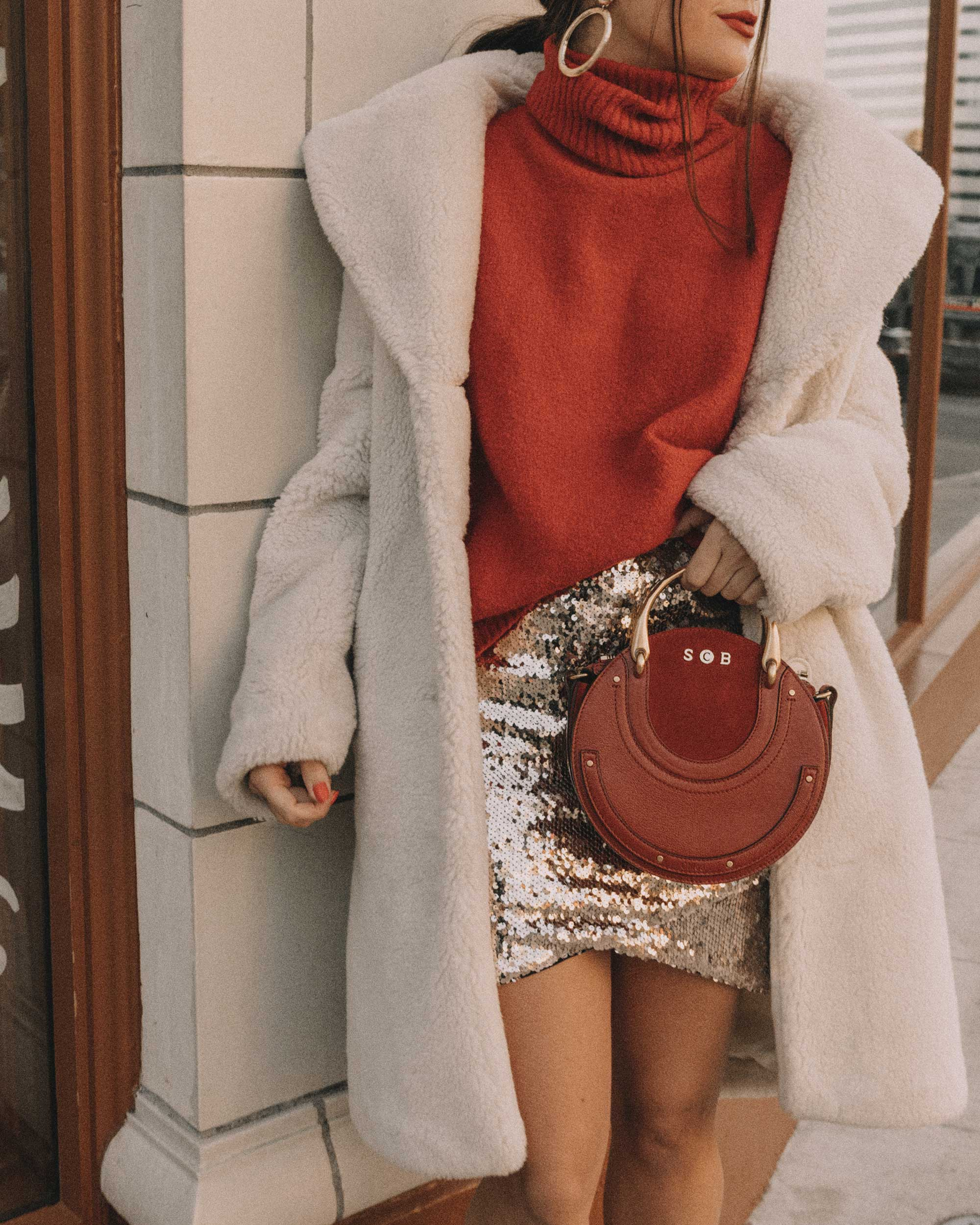 Red turtleneck sweater with an oversized collar and sequin skirt cute holiday outfit3.jpg