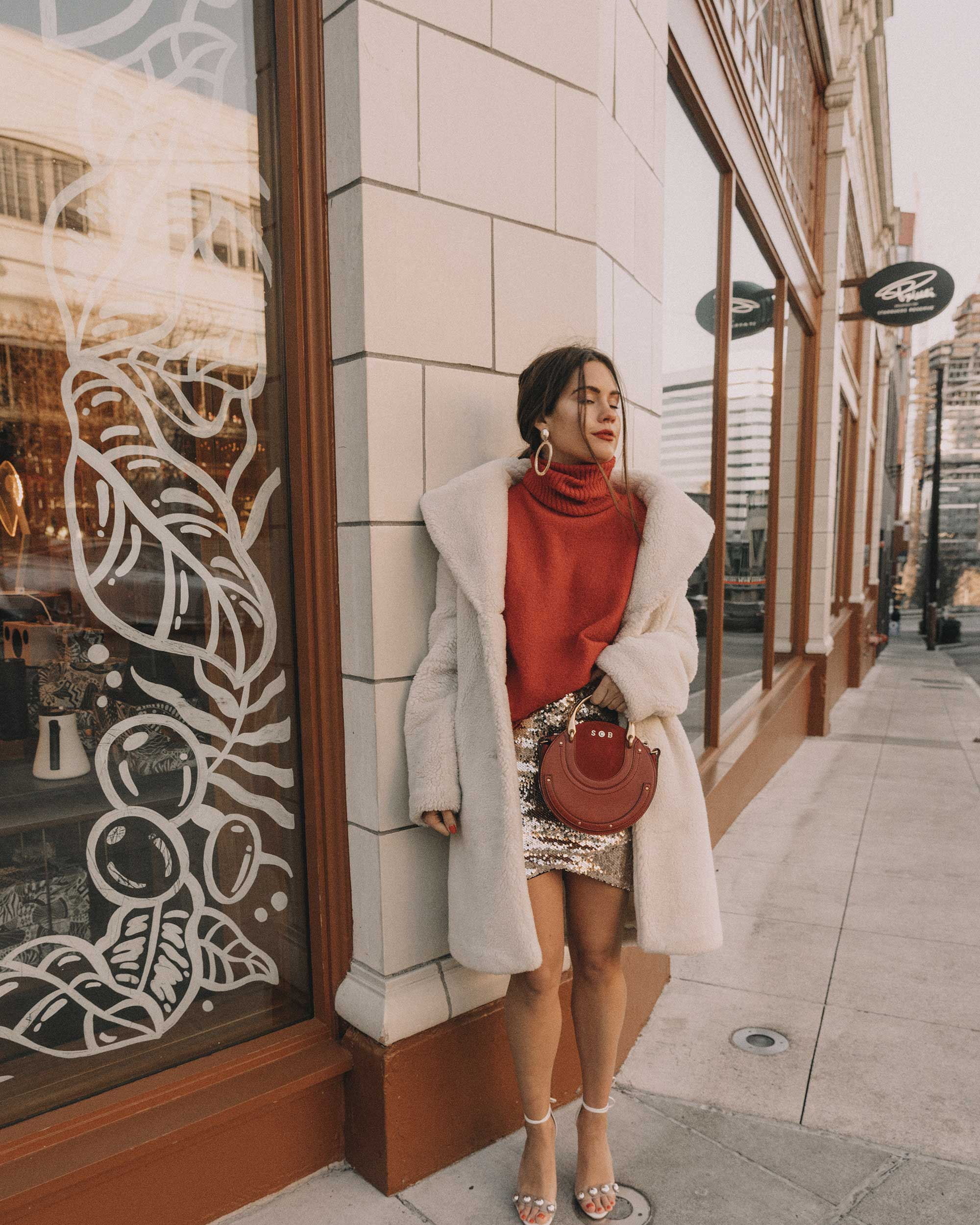 Red turtleneck sweater with an oversized collar and sequin skirt cute holiday outfit2.jpg