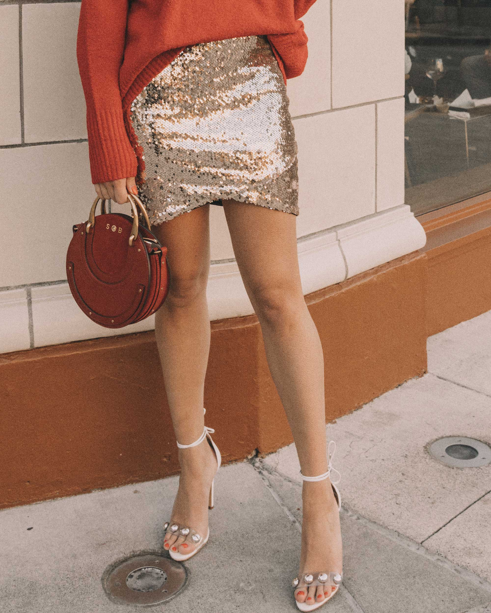 Red turtleneck sweater with an oversized collar and sequin skirt cute holiday outfit11.jpg