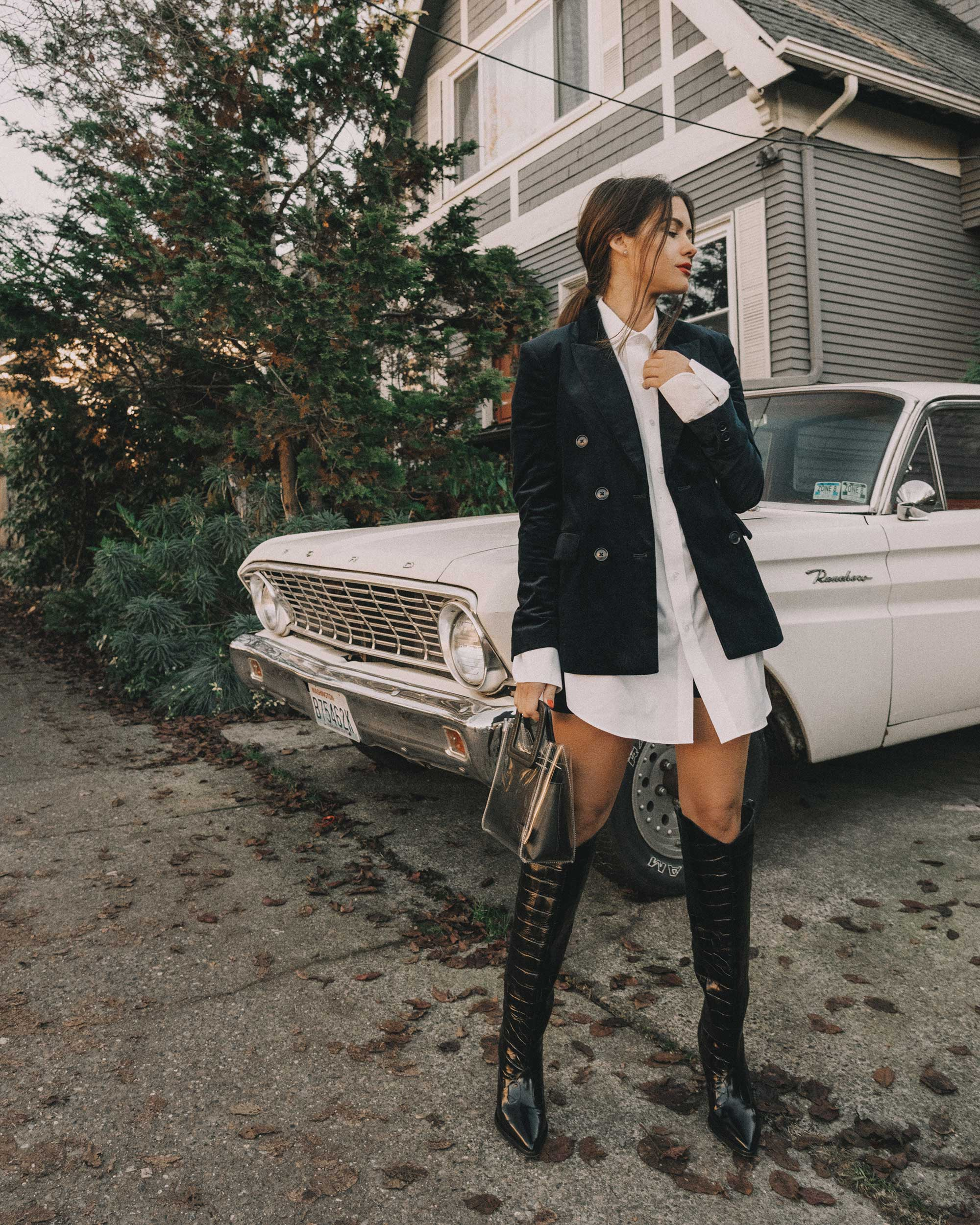 blue double-breasted corduroy blazer and Black Leather Knee High Boot winter outfit seattle11.jpg
