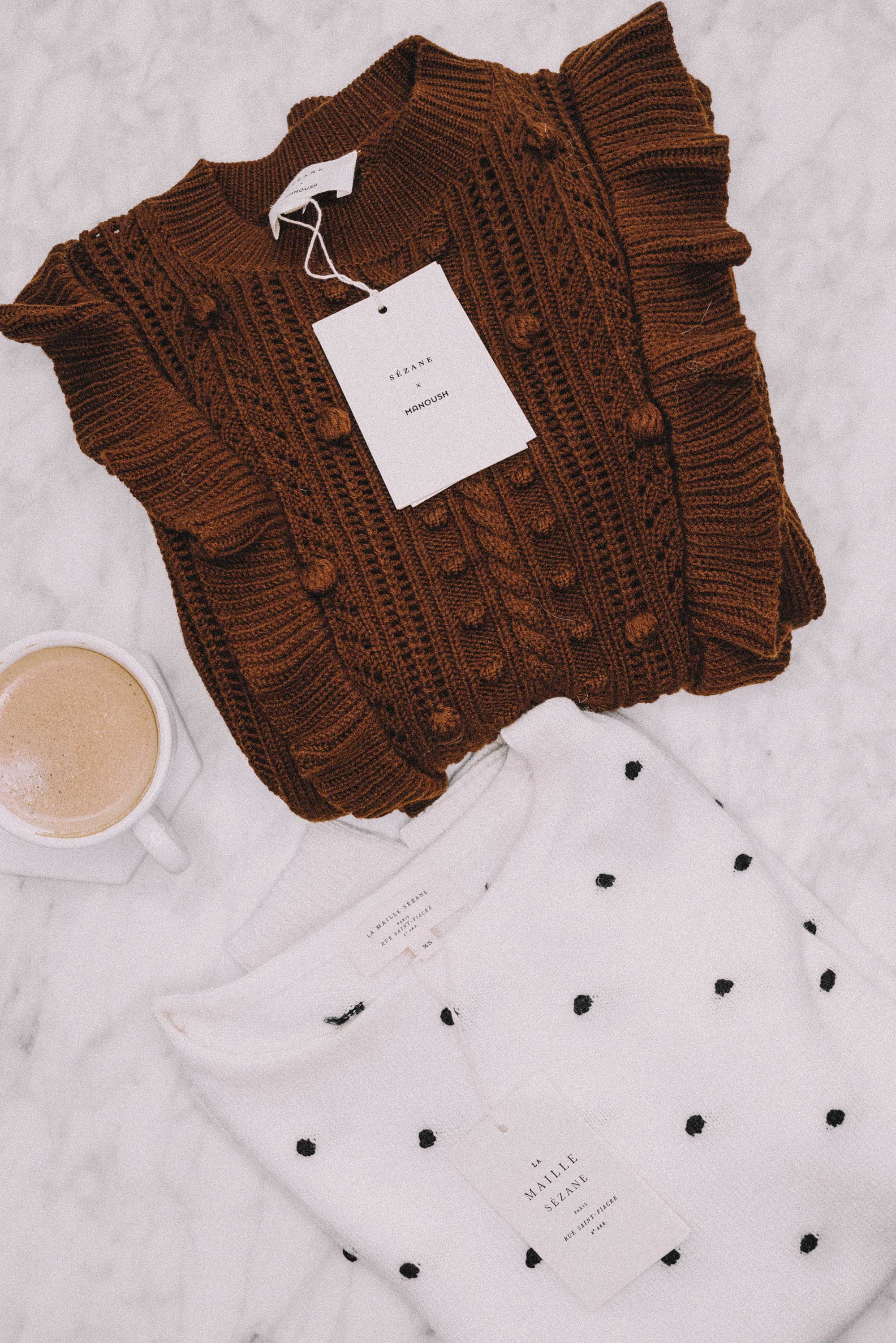 Sezane X Manoush Marva Merino Wool Ruffle Sweater and Sezane Hans Merino Wool Polkadot Sweater2.jpg