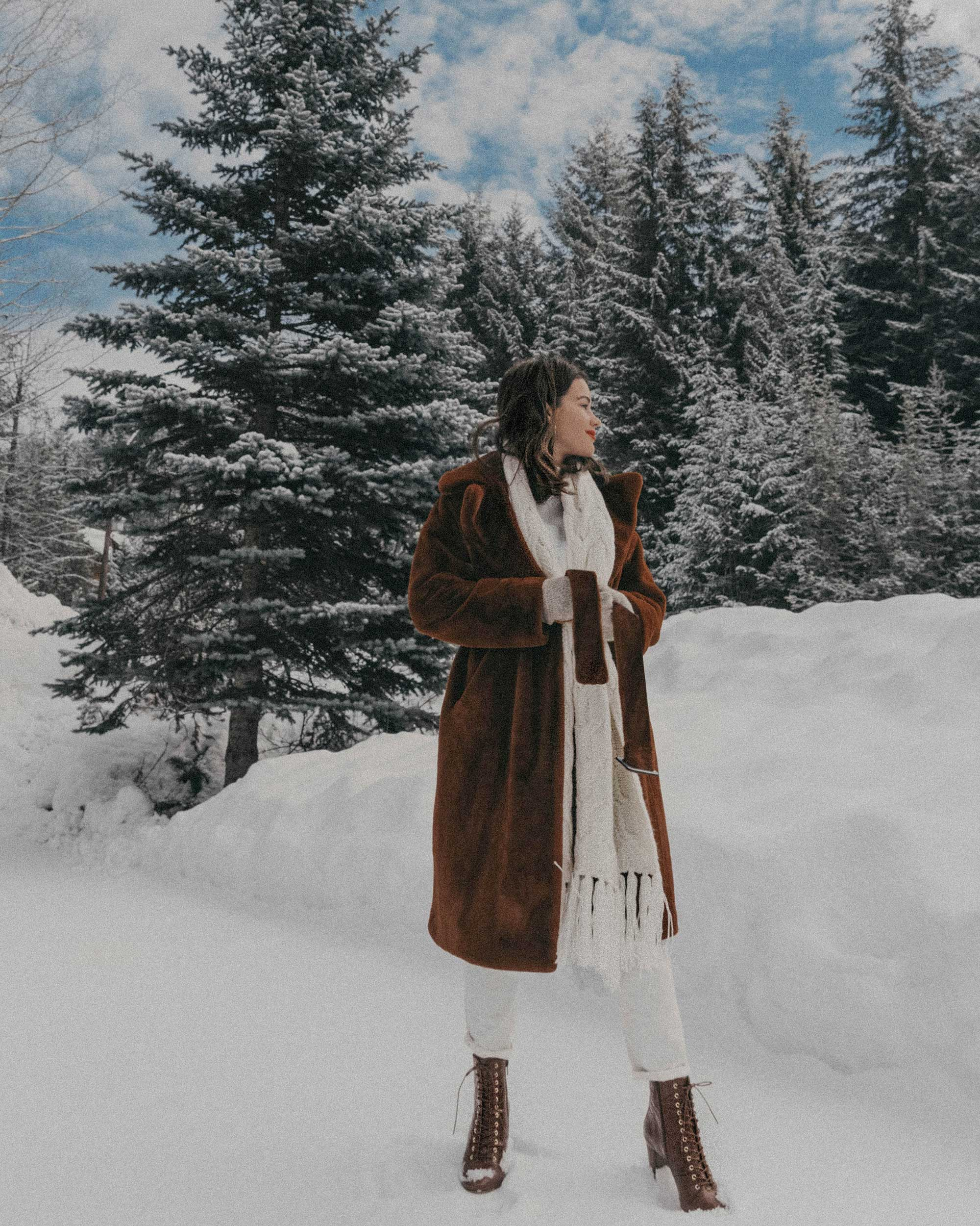 Whistler snow travel outfit brown faux fur coat8.jpg