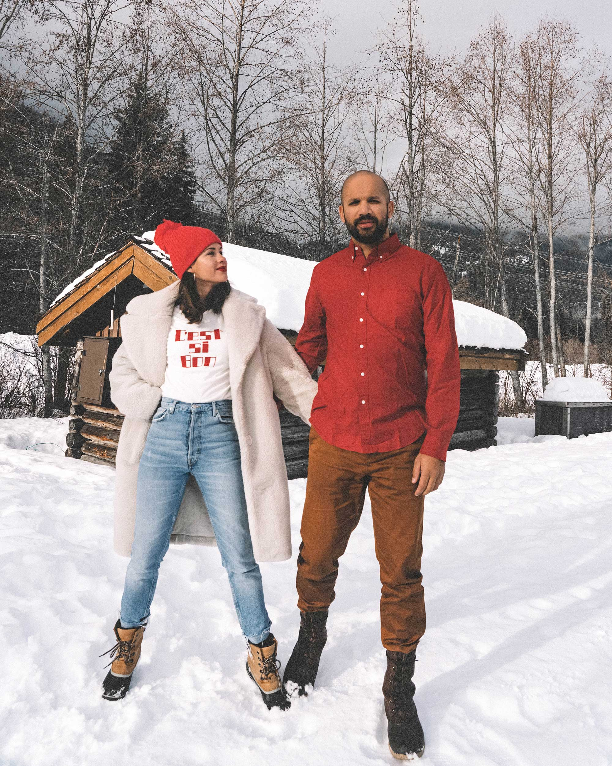 couples Winter snow outfit white faux shearling coat and sorel boots with jeans whislter canada2.jpg