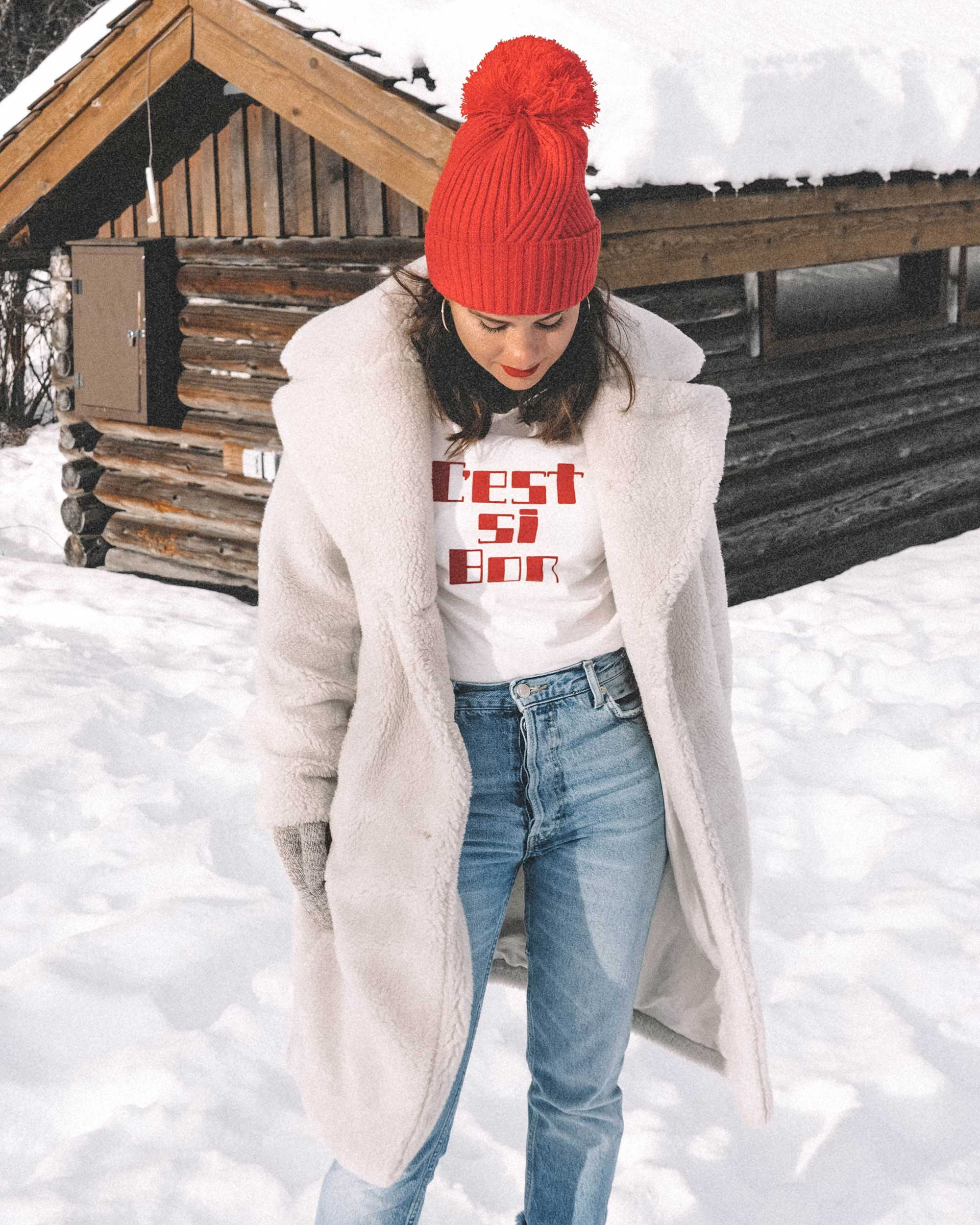Winter snow outfit white faux shearling coat and sorel boots with jeans whislter canada10.jpg