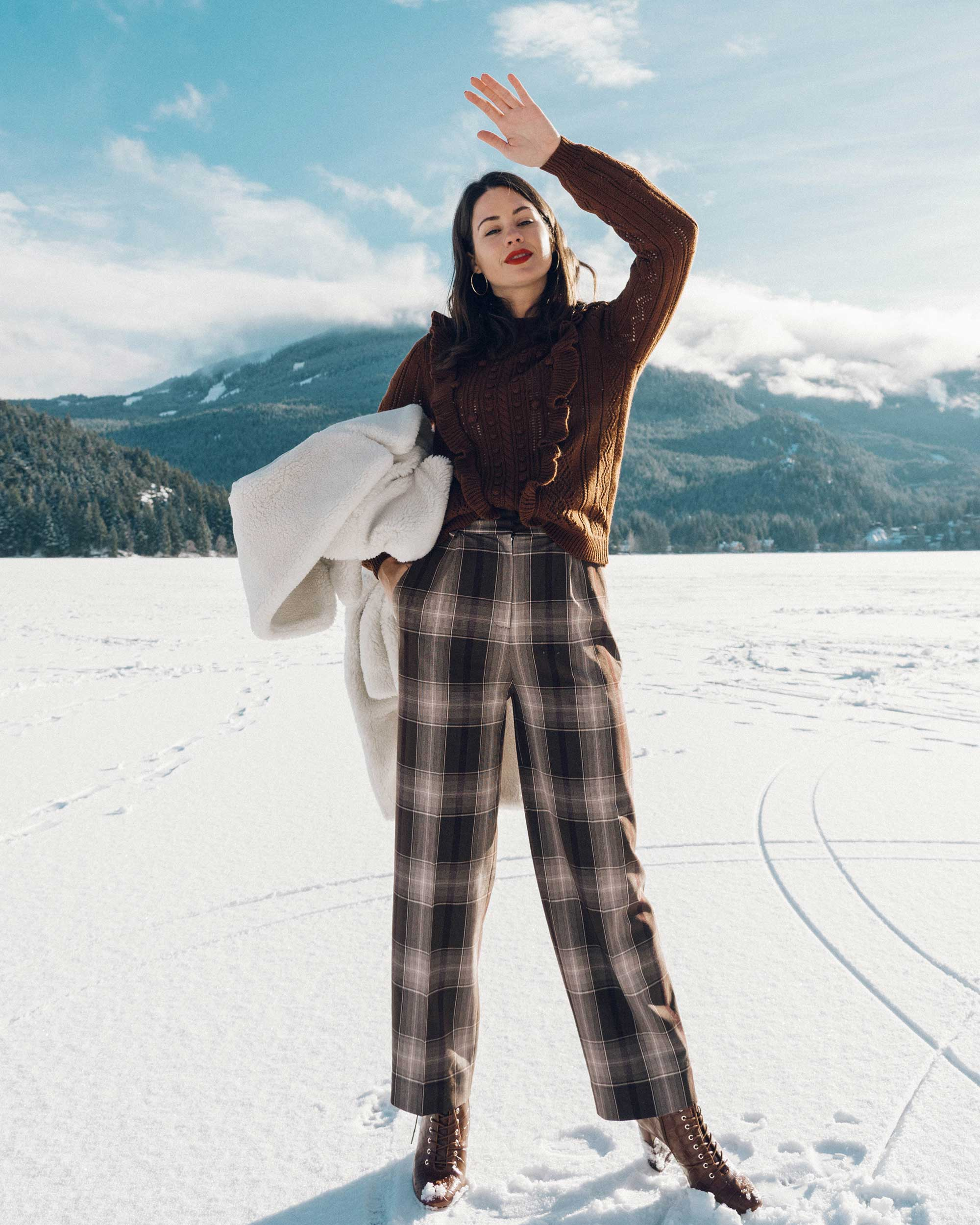 & Other Stories Tailored Brown Plaid Pants with pleats, white Faux Shearling Coat,  winter snow outfit, whistler canada9.jpg