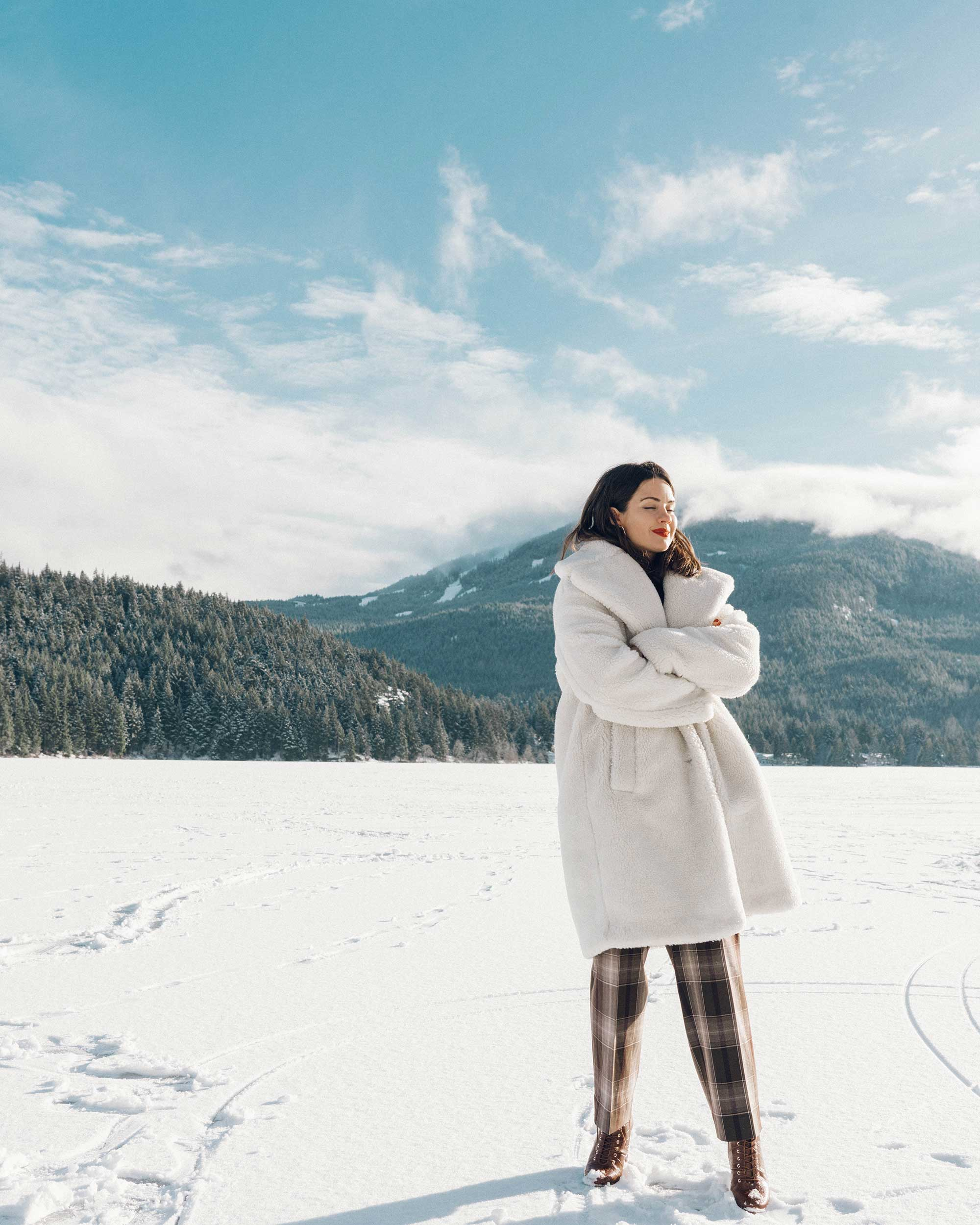 & Other Stories Tailored Brown Plaid Pants with pleats, white Faux Shearling Coat,  winter snow outfit, whistler canada1.jpg