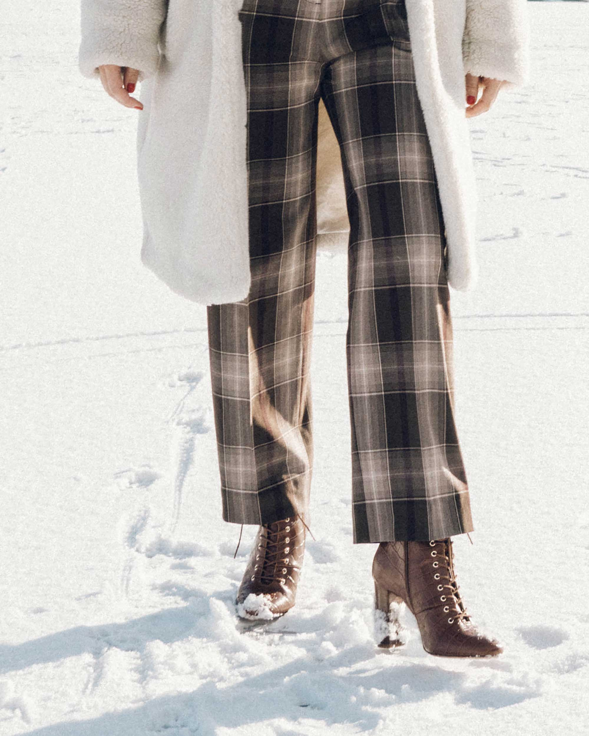 & Other Stories Tailored Brown Plaid Pants with pleats, white Faux Shearling Coat,  winter snow outfit, whistler canada2.jpg