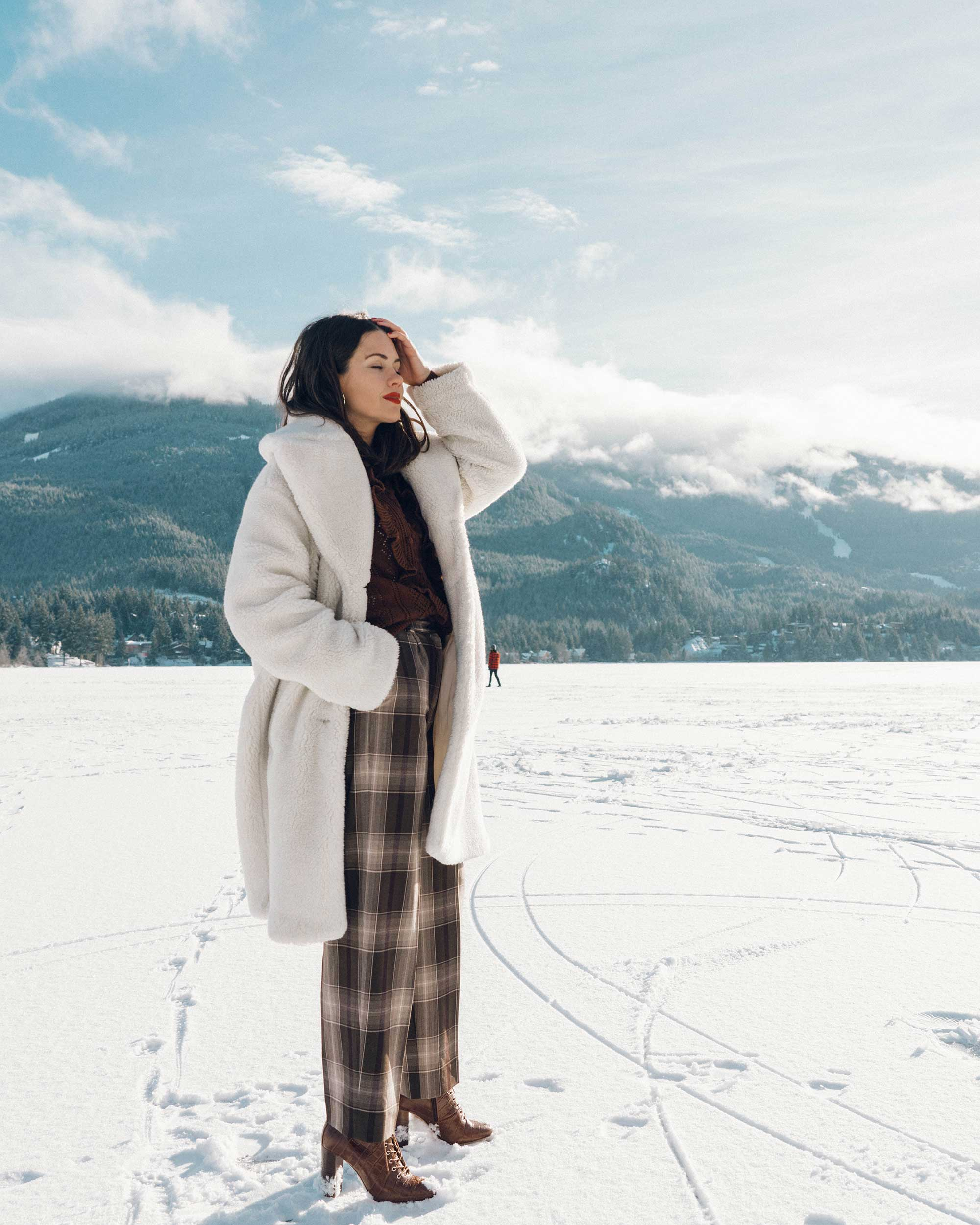 & Other Stories Tailored Brown Plaid Pants with pleats, white Faux Shearling Coat,  winter snow outfit, whistler canada5.jpg