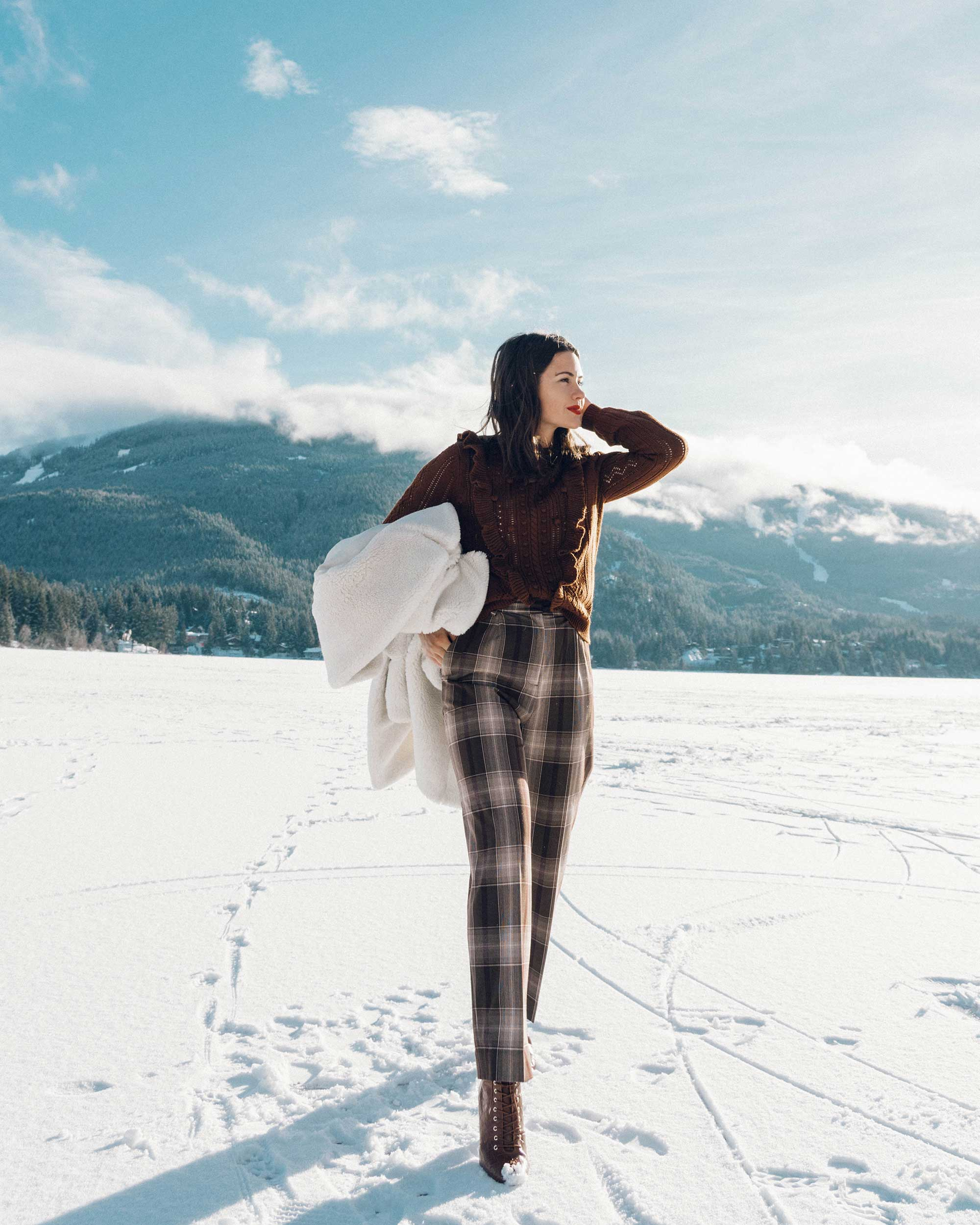 & Other Stories Tailored Brown Plaid Pants with pleats, white Faux Shearling Coat,  winter snow outfit, whistler canada7.jpg