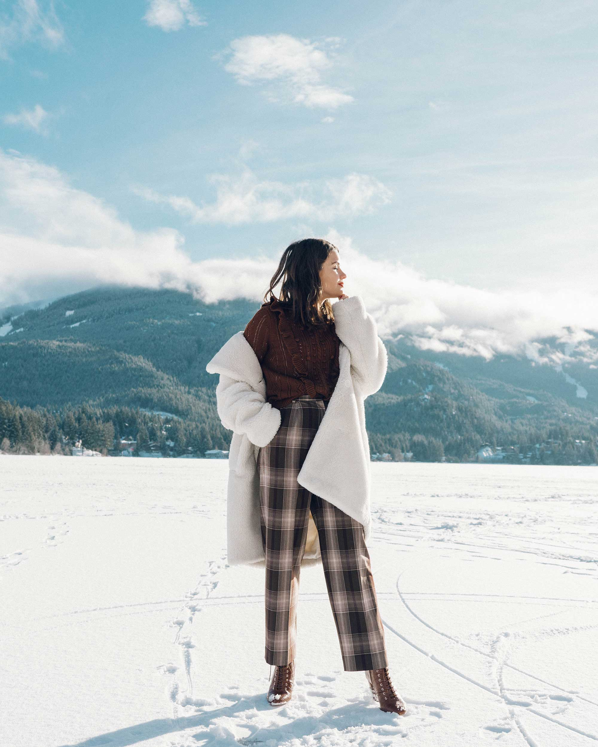 & Other Stories Tailored Brown Plaid Pants with pleats, white Faux Shearling Coat,  winter snow outfit, whistler canada6.jpg