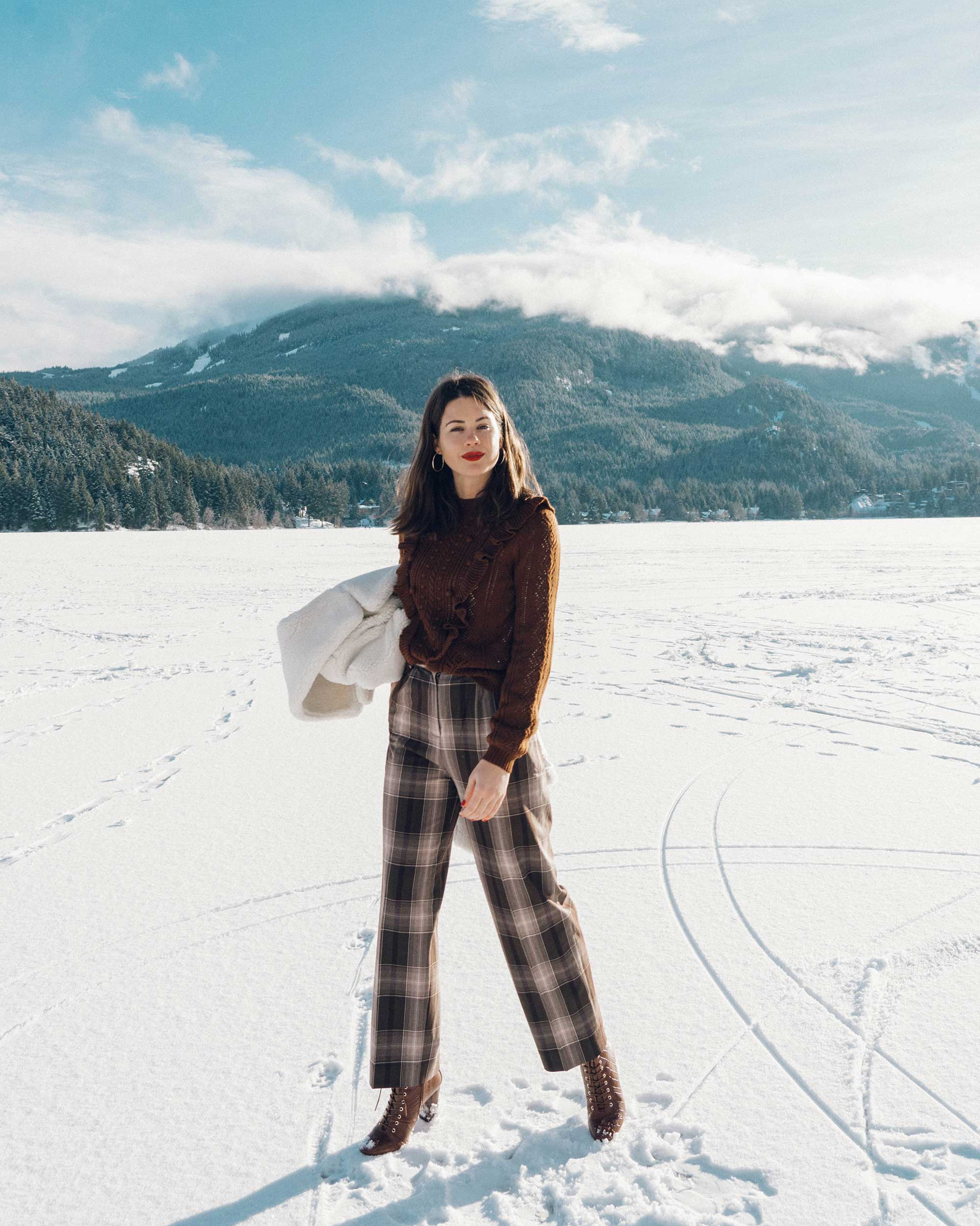 & Other Stories Tailored Brown Plaid Pants with pleats, white Faux Shearling Coat,  winter snow outfit, whistler canada8.jpg