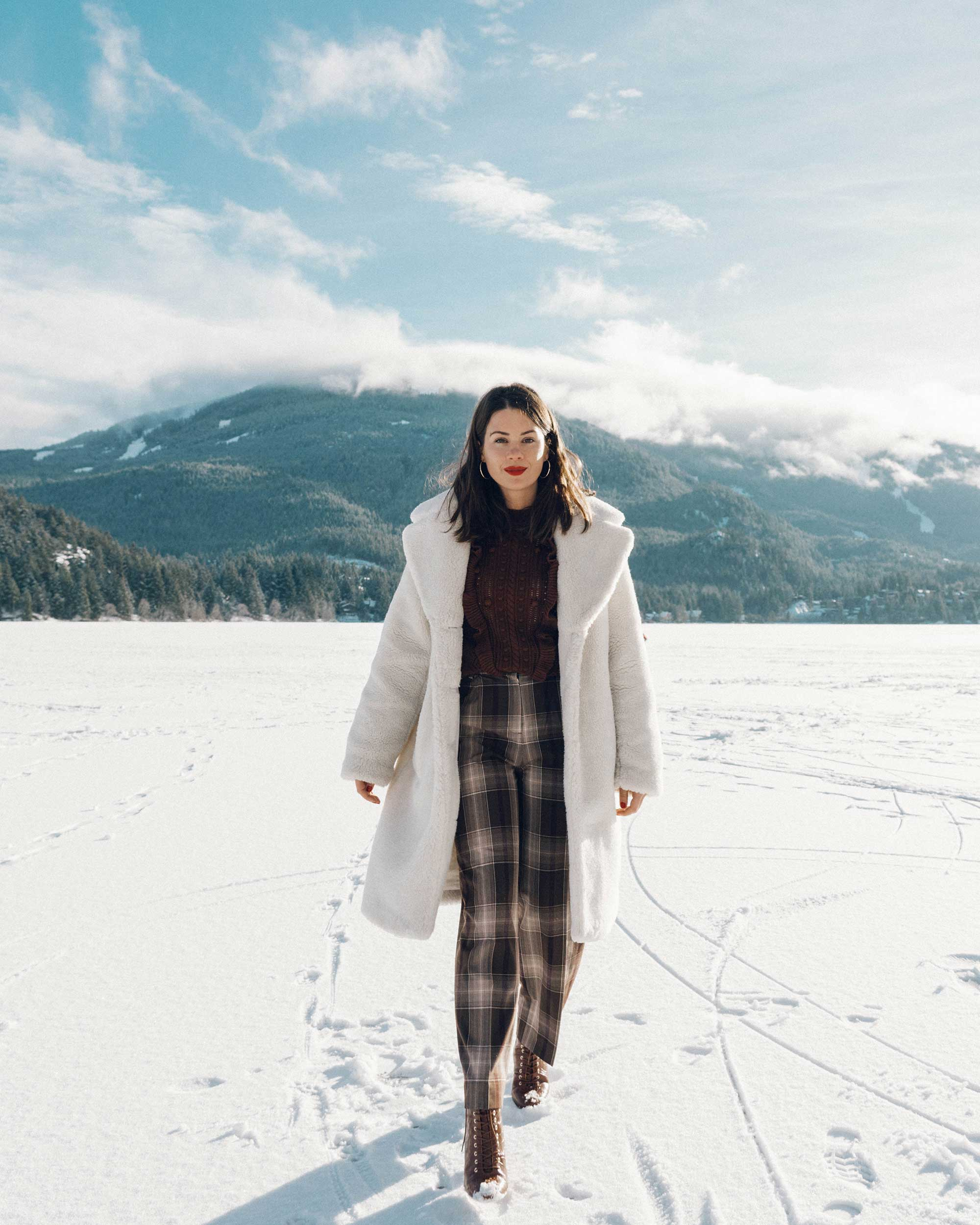 & Other Stories Tailored Brown Plaid Pants with pleats, white Faux Shearling Coat,  winter snow outfit, whistler canada3.jpg