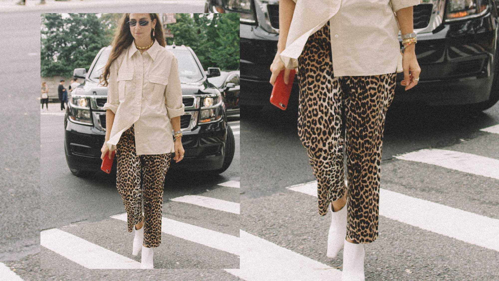 10 Easy Ways to Pull Off Leopard Print, leopard pants white boots, Erika Boldrin Street Style NYC.jpg