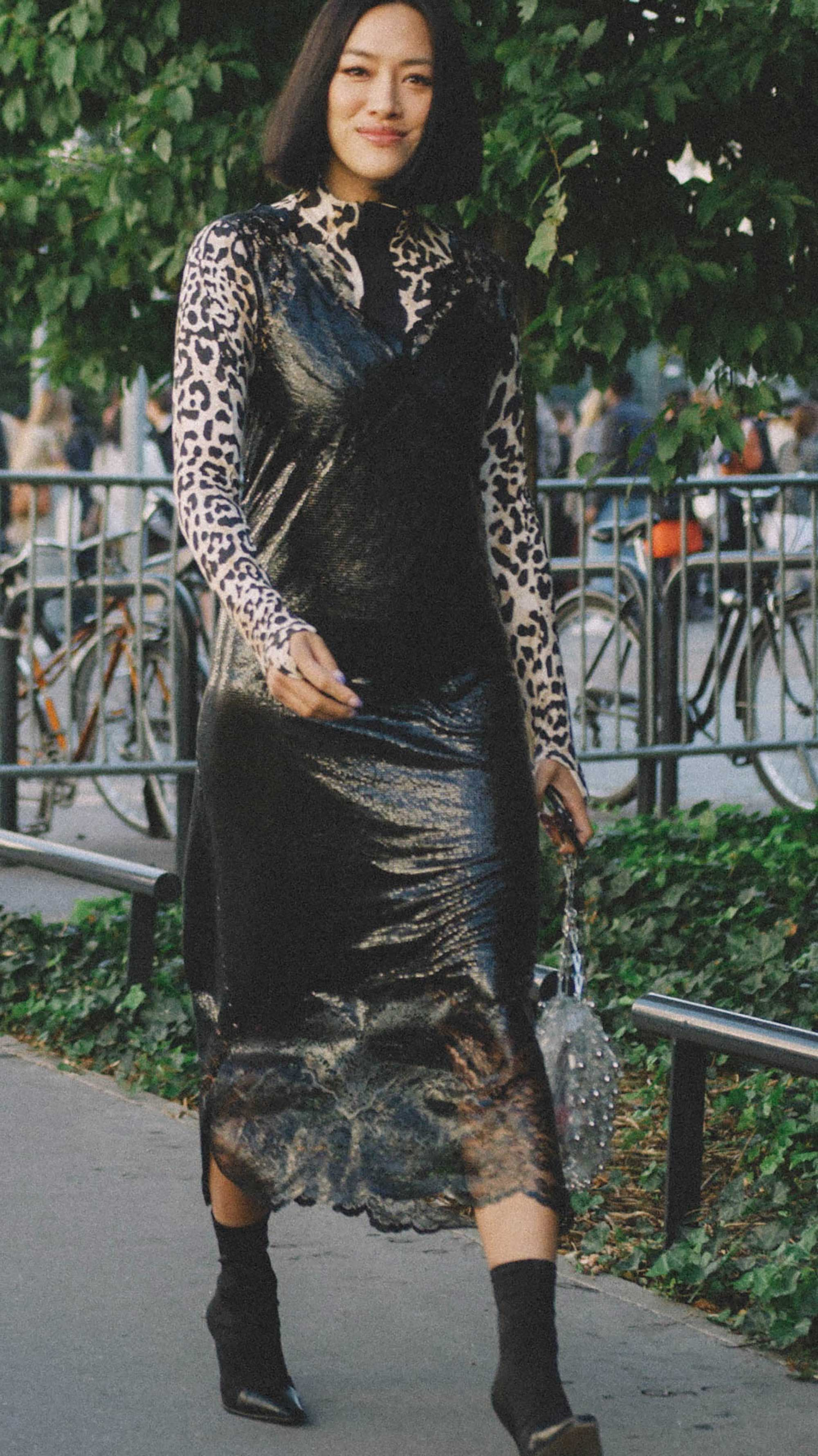 10 Easy Ways to Pull Off Animal Print, leopard shirt and slip dress Street Style.jpg