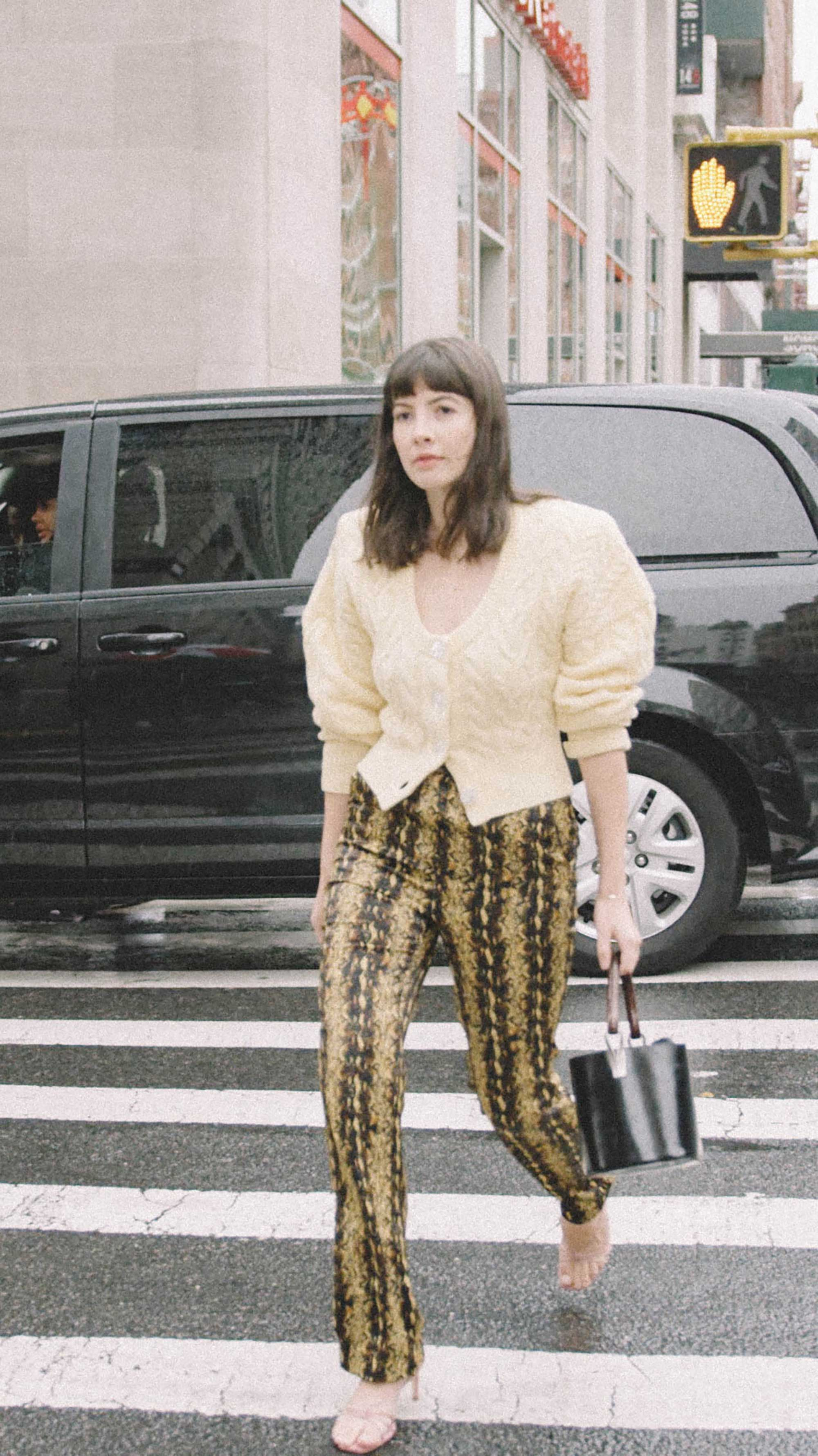 11 ways to wear snake print Kat Collings Editor in Chief @whowhatwear street style nyc snake pants.jpg