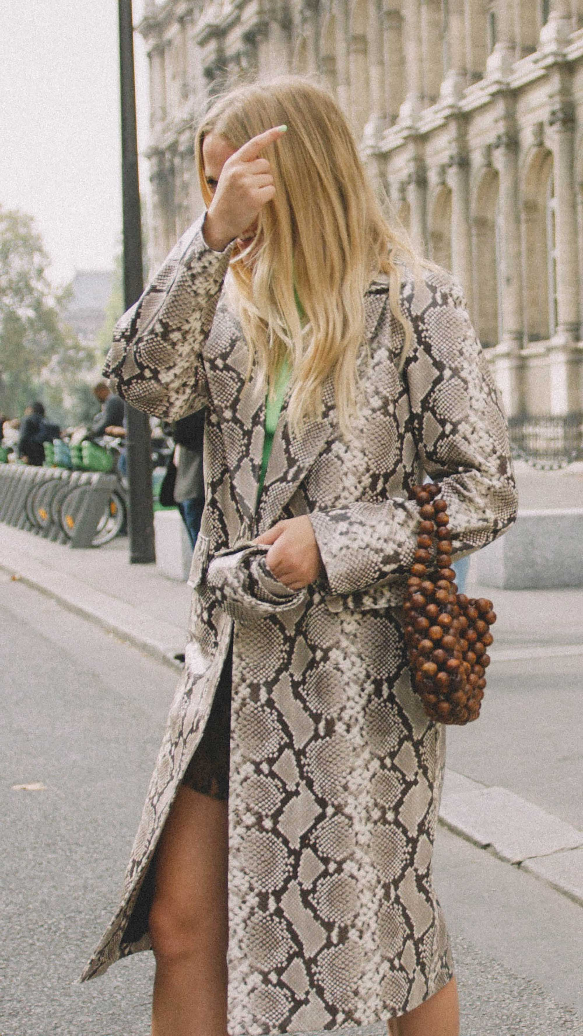 11 ways to wear snake print, snake print coat street style paris.jpg