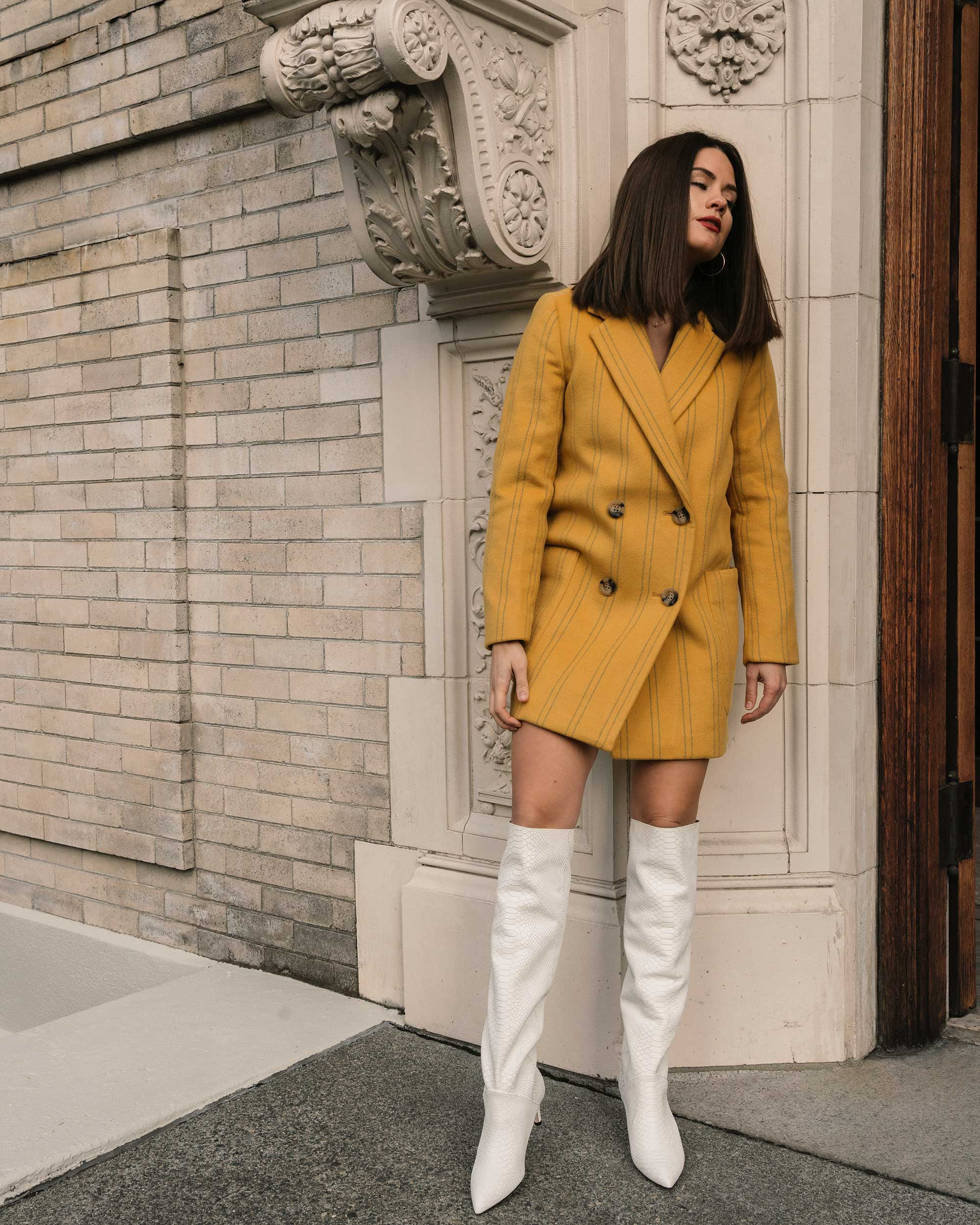 Sarah Butler of Sarah Styles Seattle wears Joie Revet White Snake Print Tall Boots and Madewell Double-Breasted Yellow Coat | @sarahchristine3.jpg