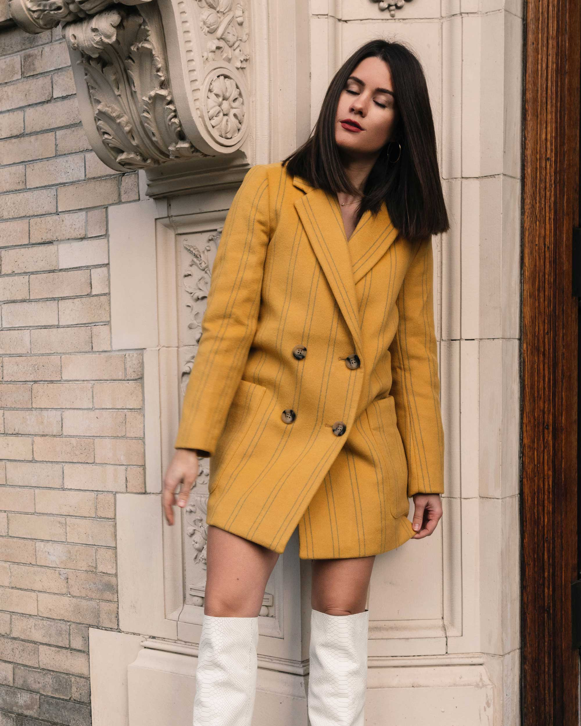 Sarah Butler of Sarah Styles Seattle wears Joie Revet White Snake Print Tall Boots and Madewell Double-Breasted Yellow Coat | @sarahchristine2.jpg