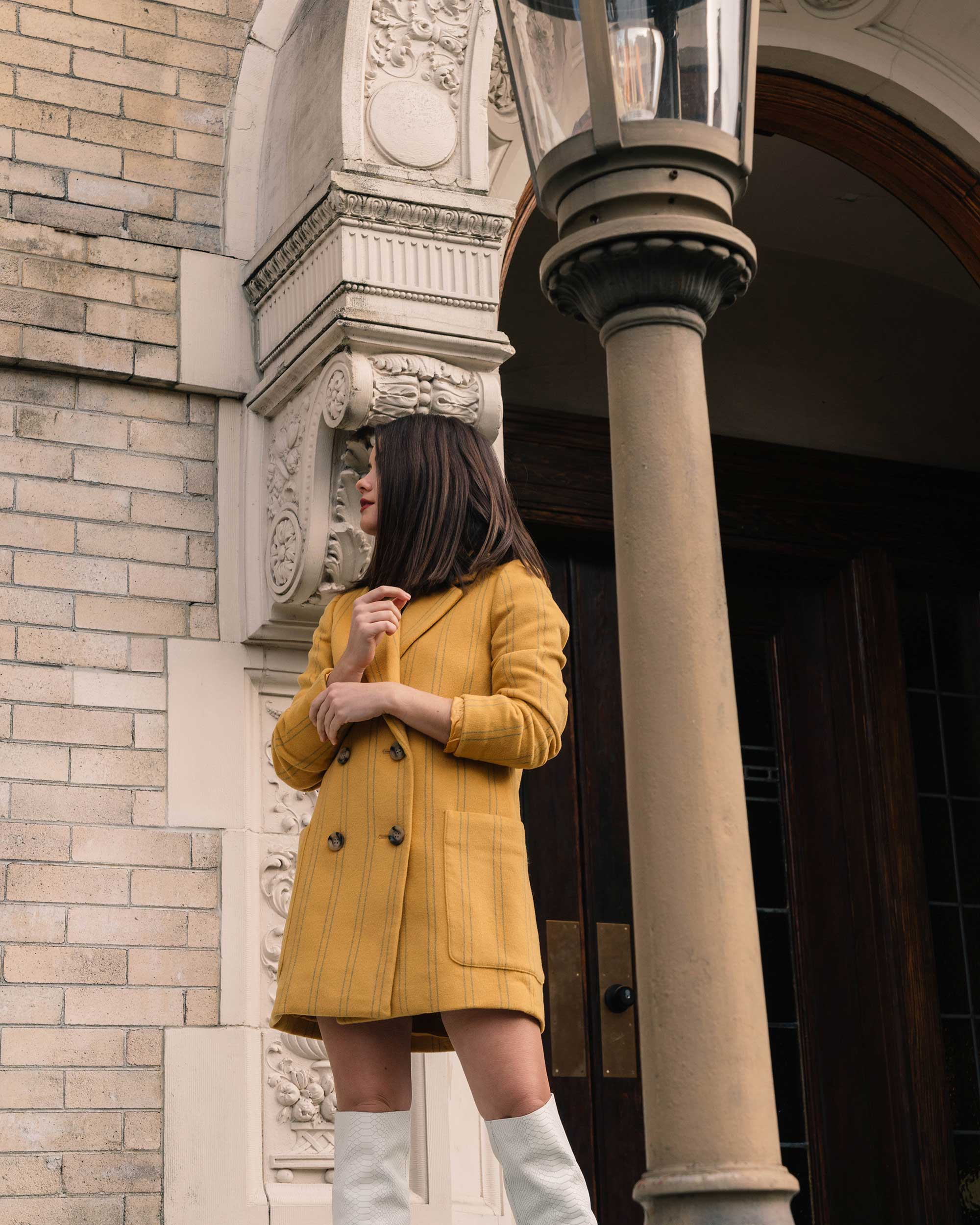 Sarah Butler of Sarah Styles Seattle wears Joie Revet White Snake Print Tall Boots and Madewell Double-Breasted Yellow Coat | @sarahchristine8.jpg
