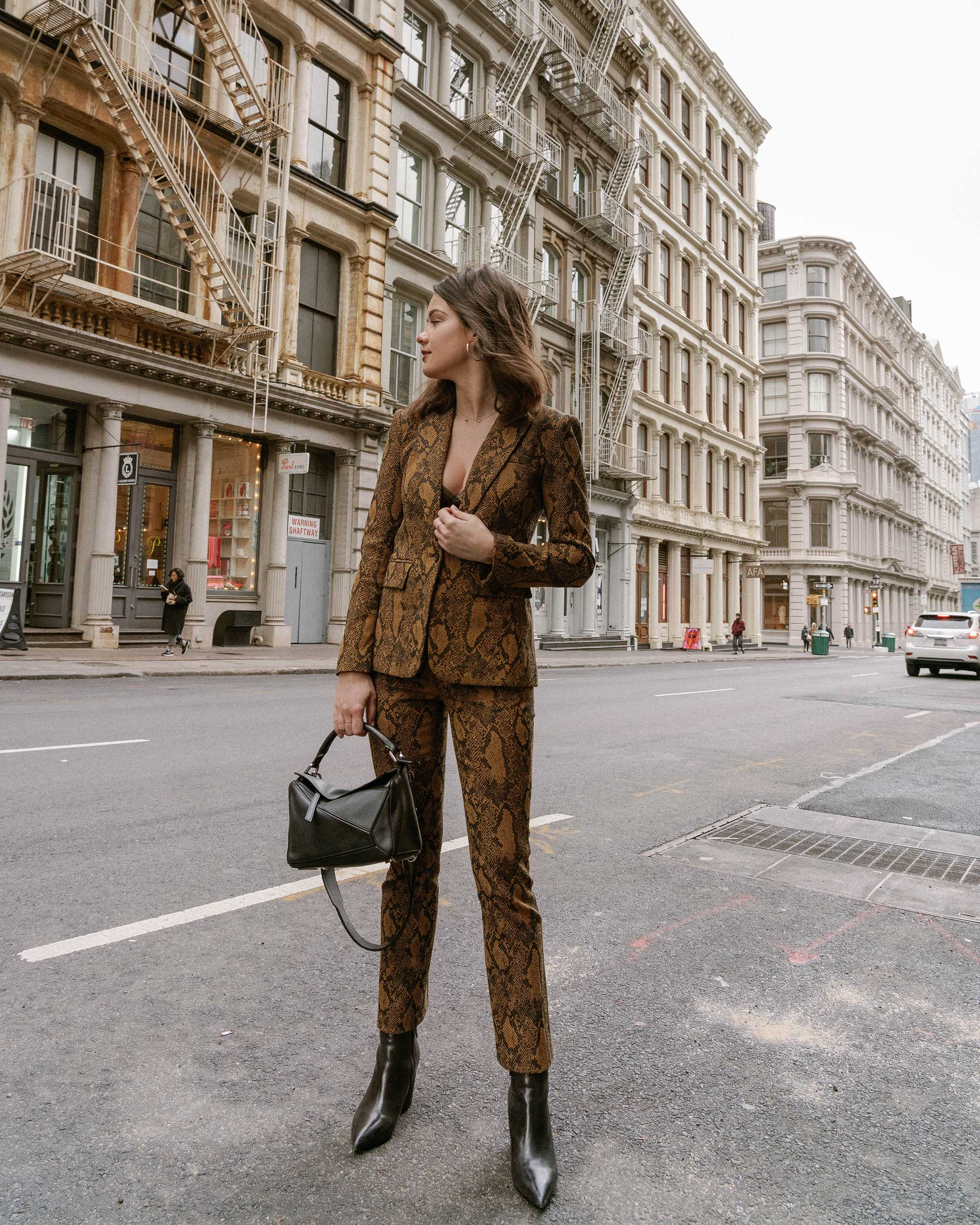 Sarah Butler of Sarah Styles Seattle wears Joie Anilah snakeskin print suit for New York Fashion Week  and Loewe Small Puzzle Shoulder Bag | @sarahchristine, Seattle Blogger2.jpg